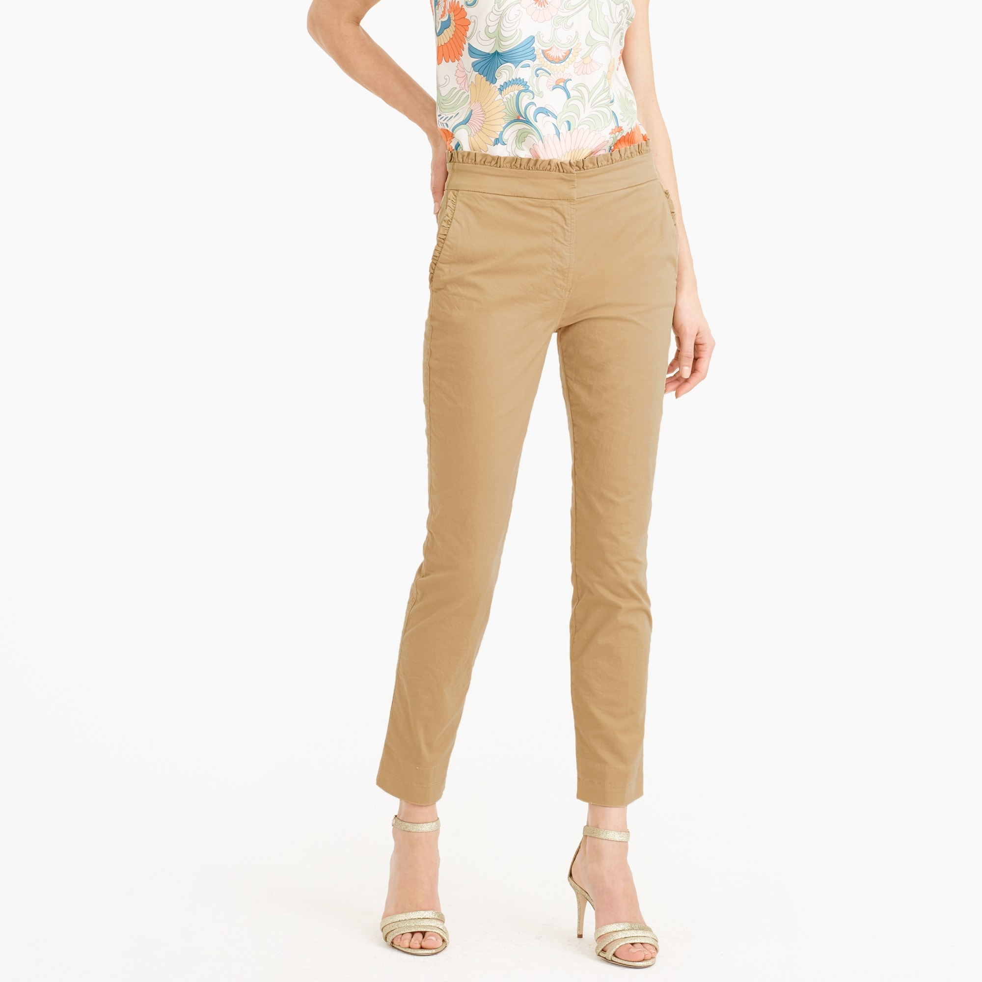 Image 1 for Tall cropped ruffle chino pant