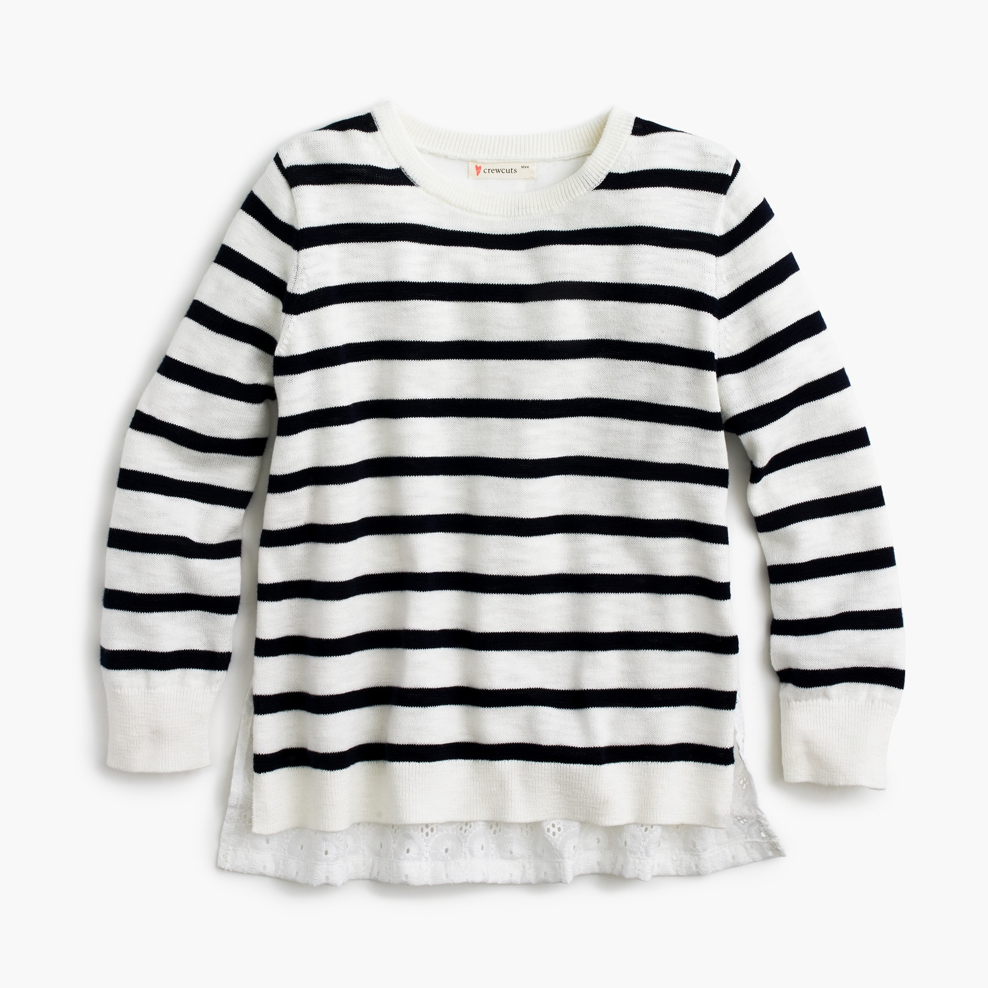 girls' eyelet-back striped sweater : girls' sweaters