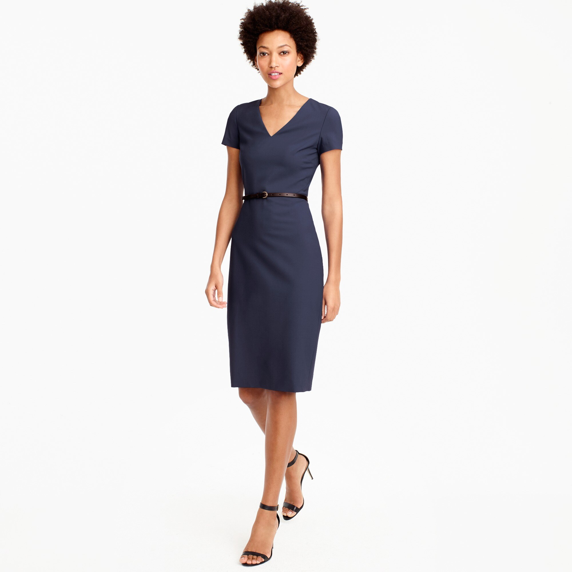 Cap-sleeve V-neck dress in Italian stretch wool