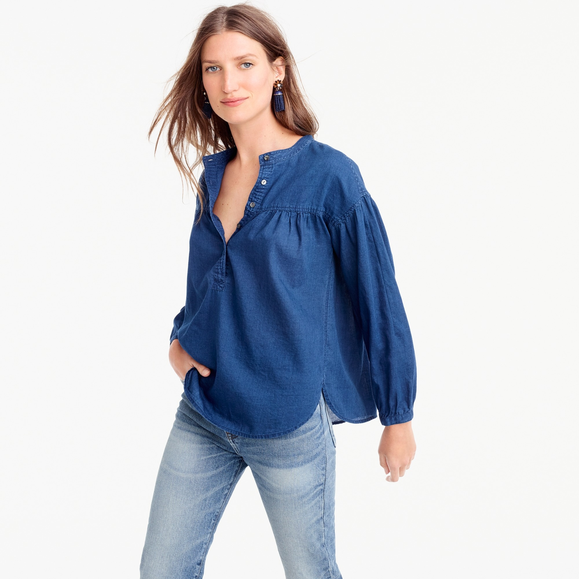 Petite gathered top in indigo gauze