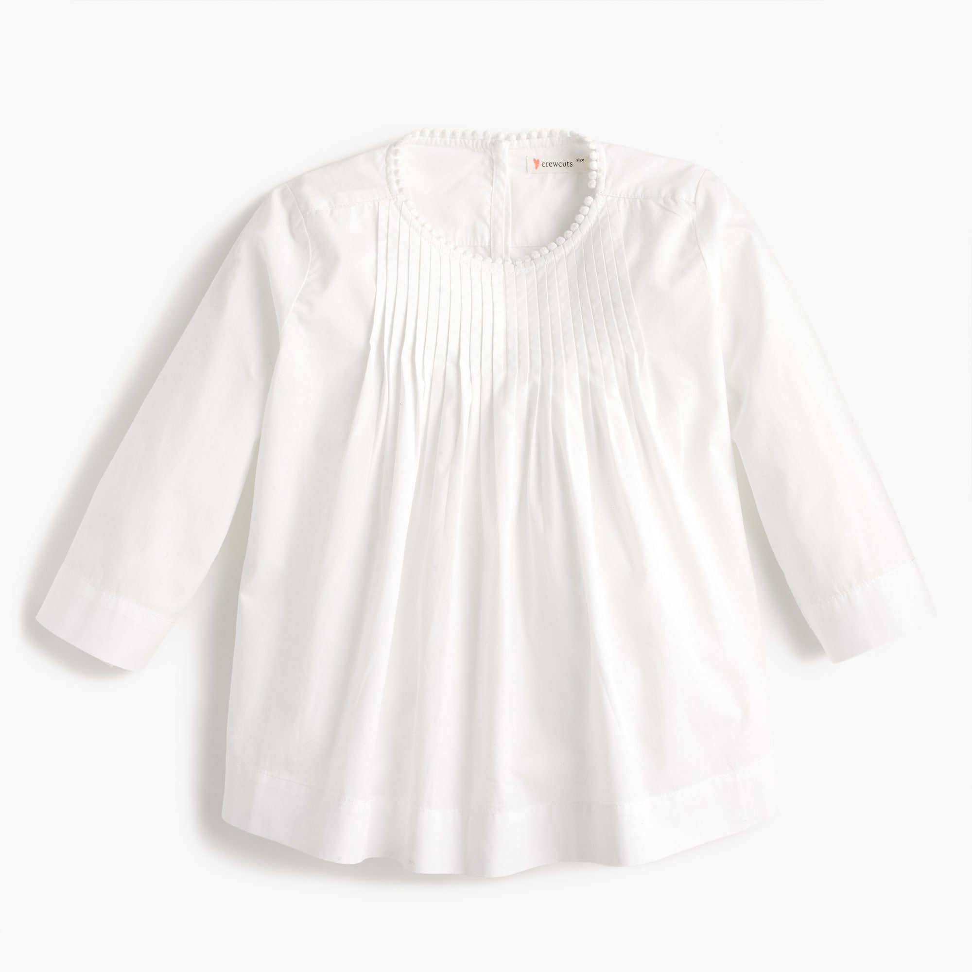 girls' pleated top with pom-pom trim : girl novelty shirts