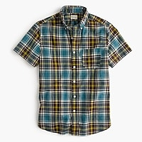 Short-sleeve madras shirt in dusty turnip