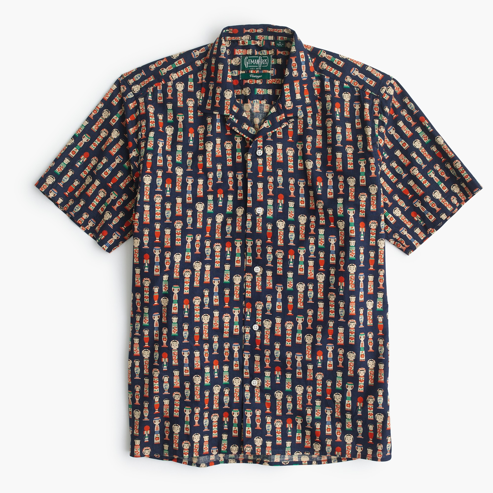 Gitman Vintage™ camp-collar shirt in Kokeshi doll print