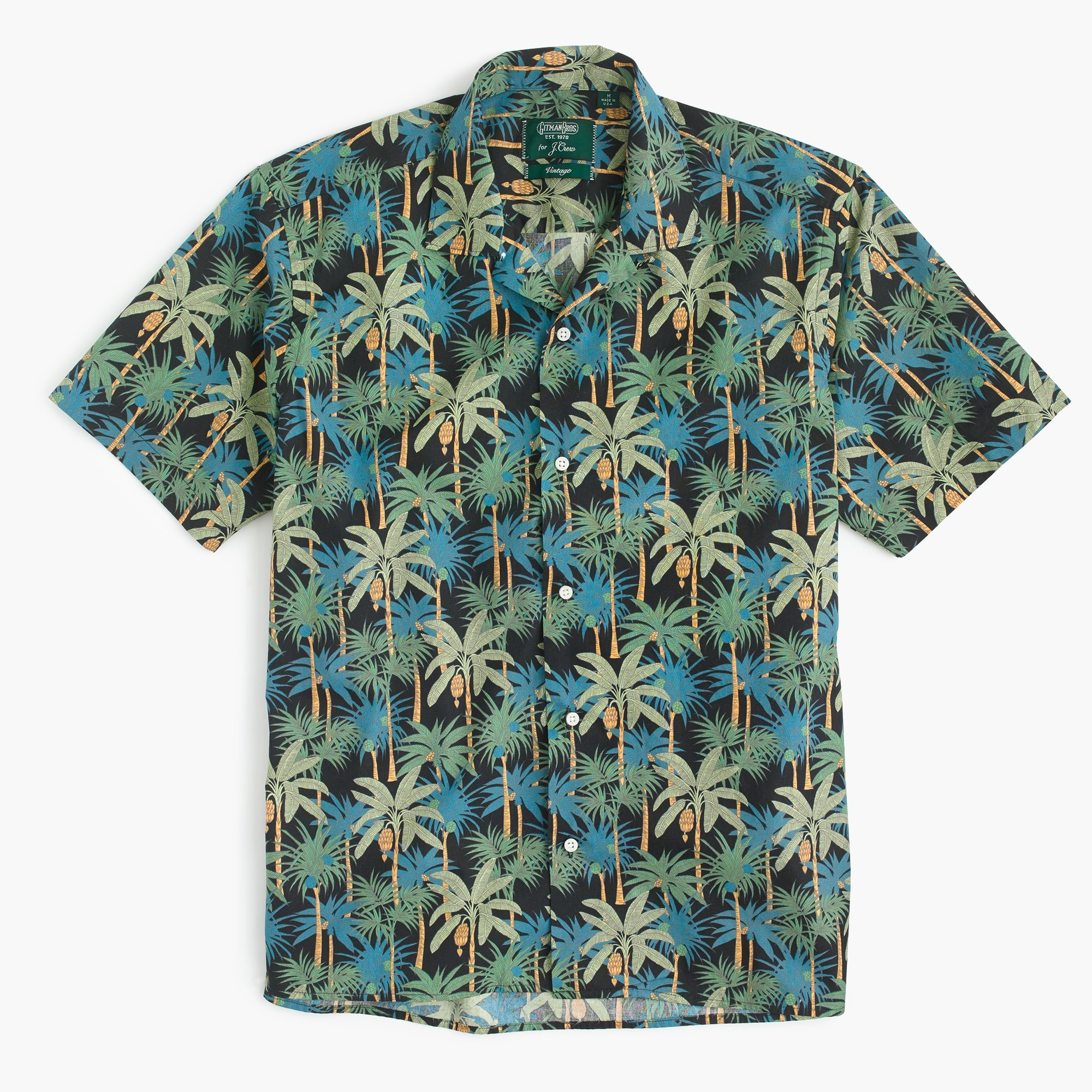 Gitman Vintage™ camp-collar shirt in palm tree print