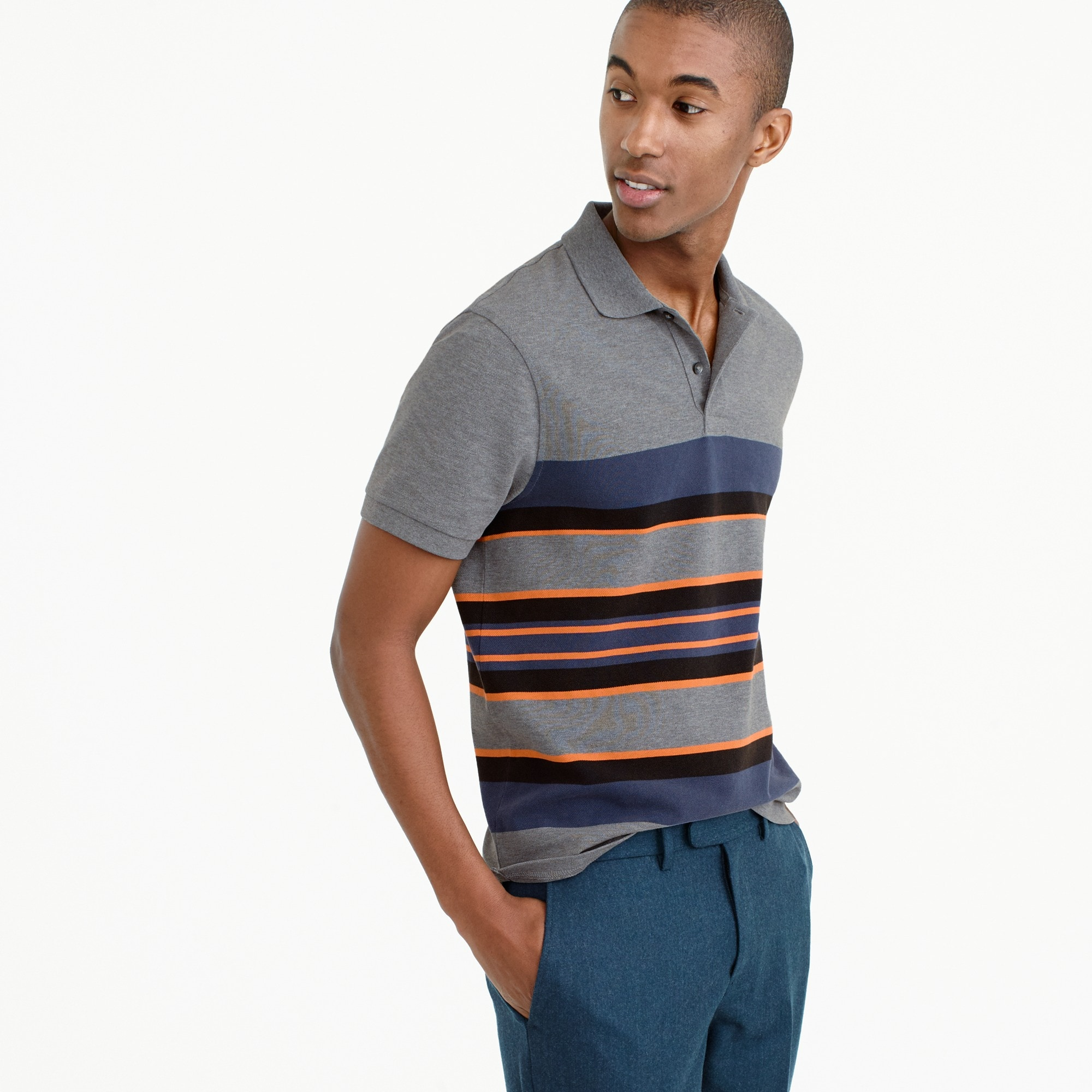 Classic piqué polo shirt in wide stripe