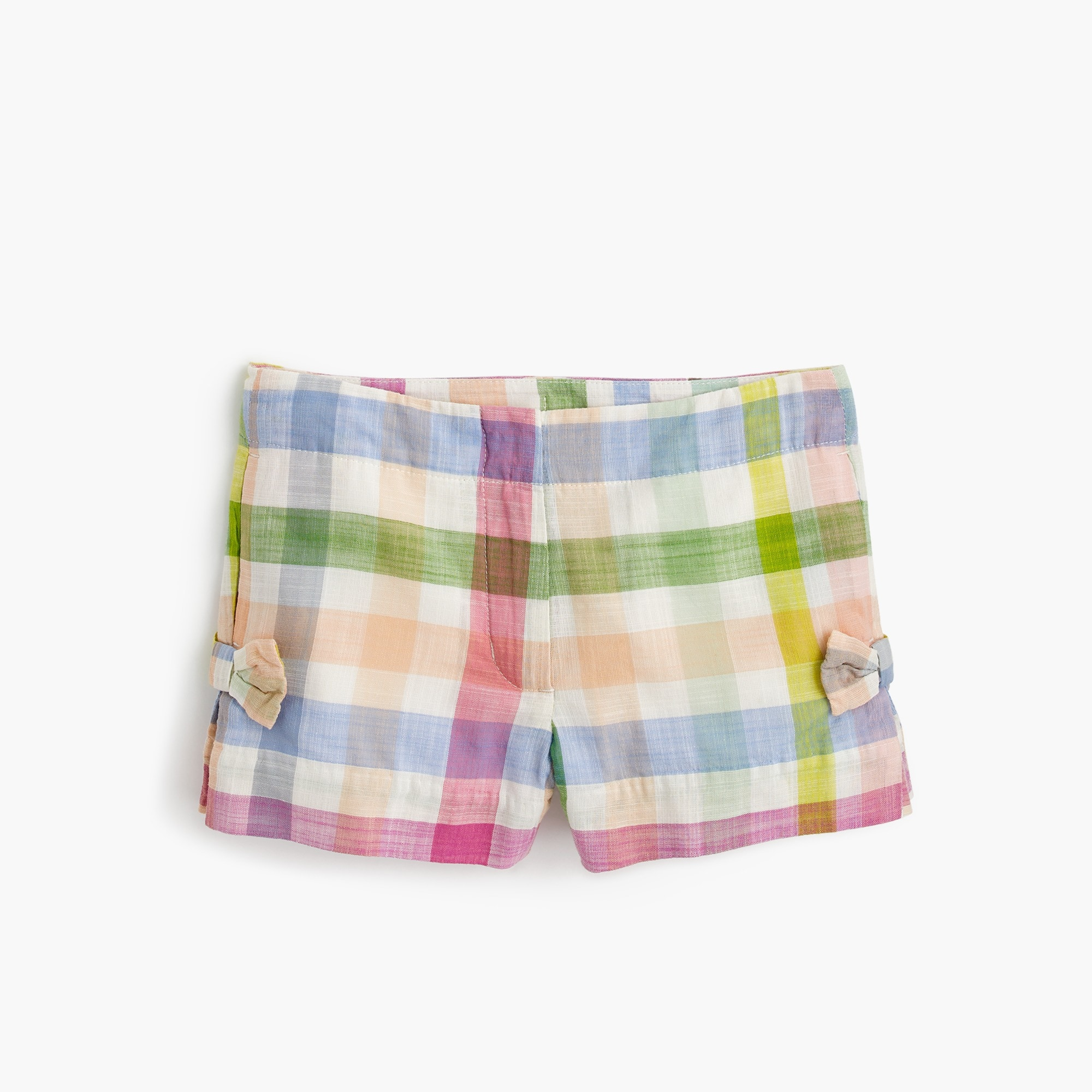 girls' bow short in oversized rainbow gingham : girls' shorts