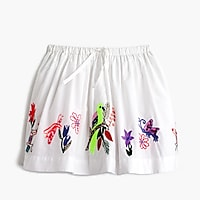 Girls' pull-on skirt in embroidered bird garden