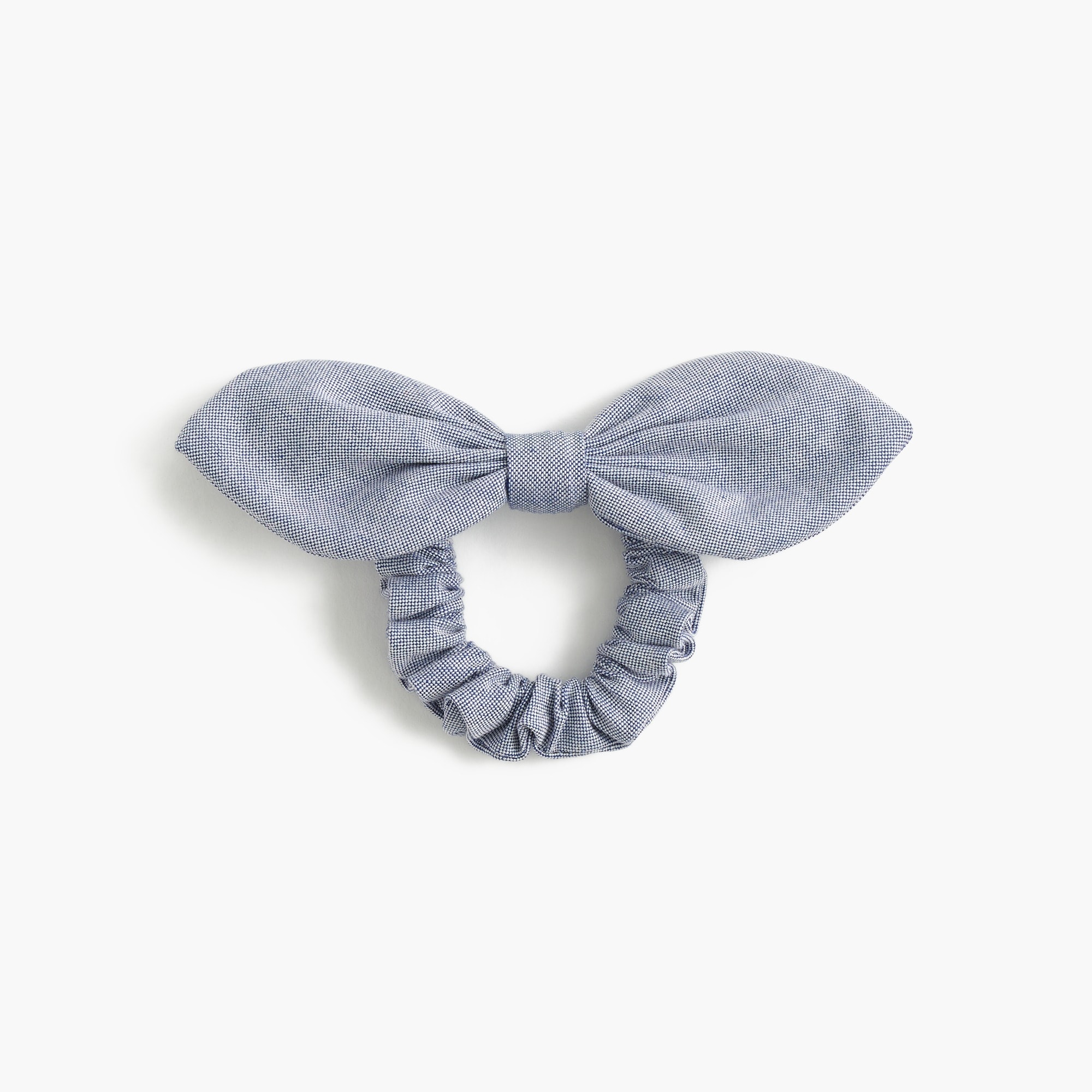 Chambray bow hair tie