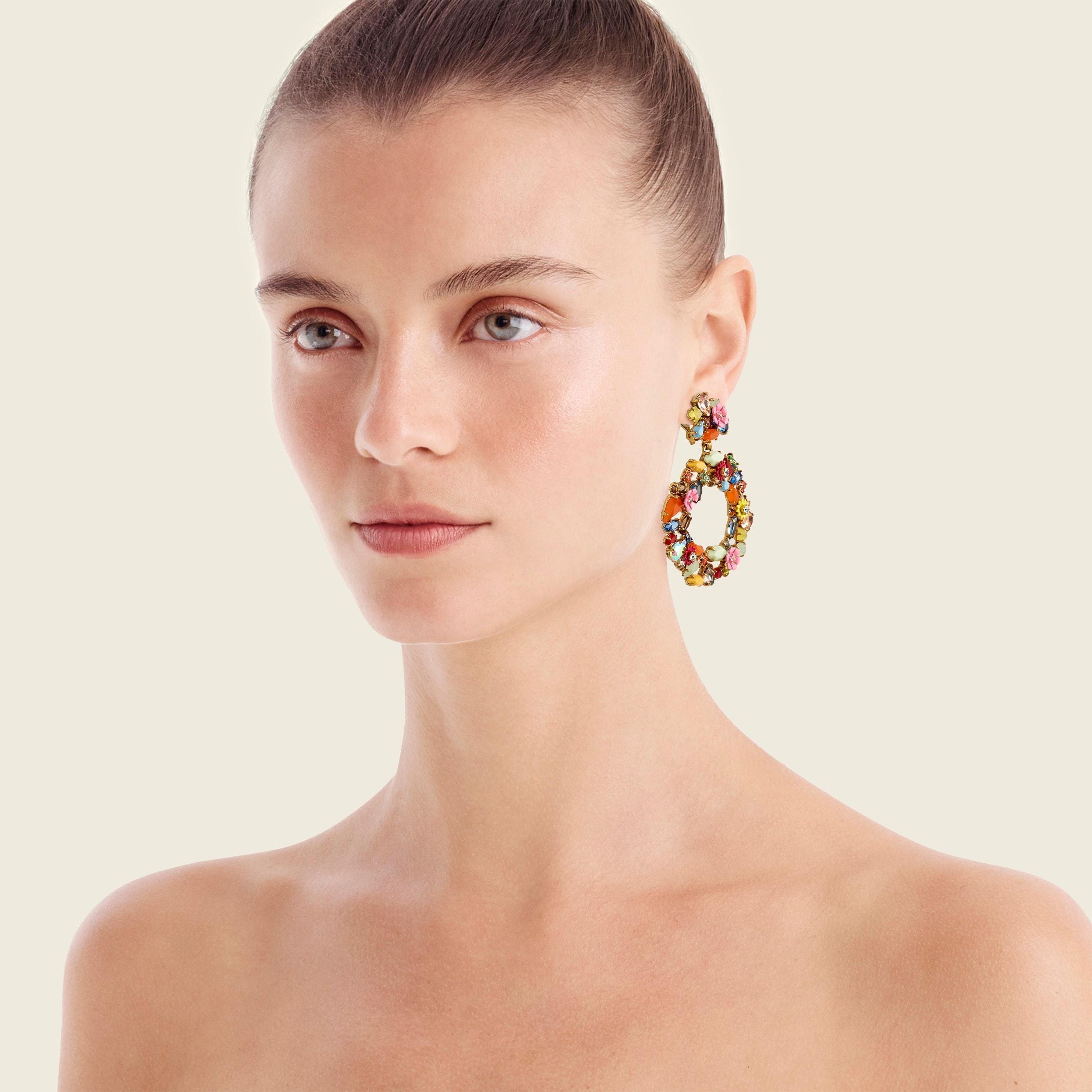 Image 1 for Colorful floral hoop earrings