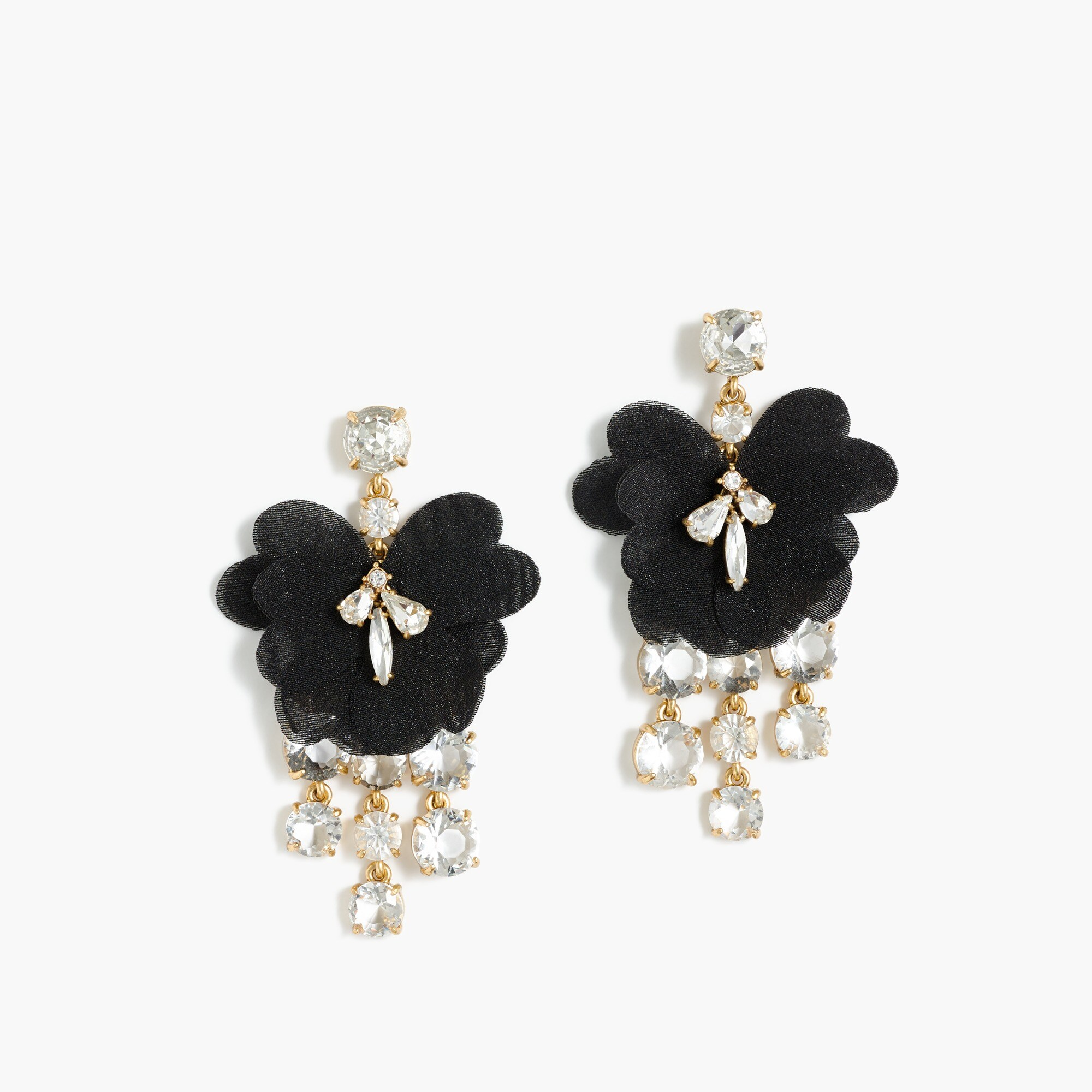 Petal crystal earrings