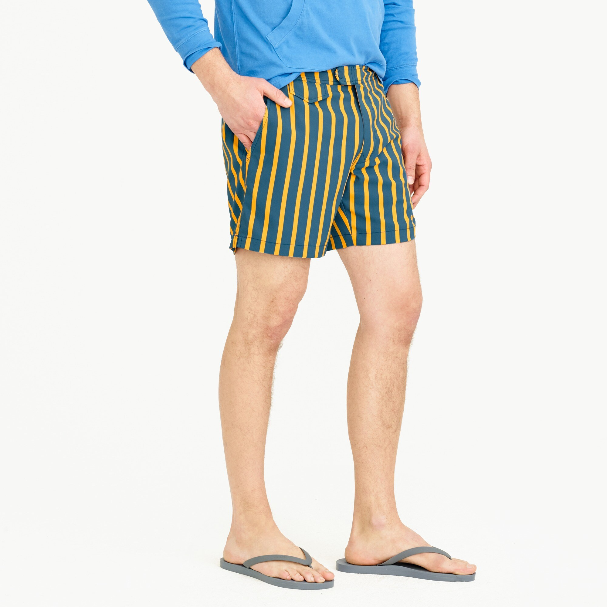 "6.5"" tab stretch swim short in yellow stripe"