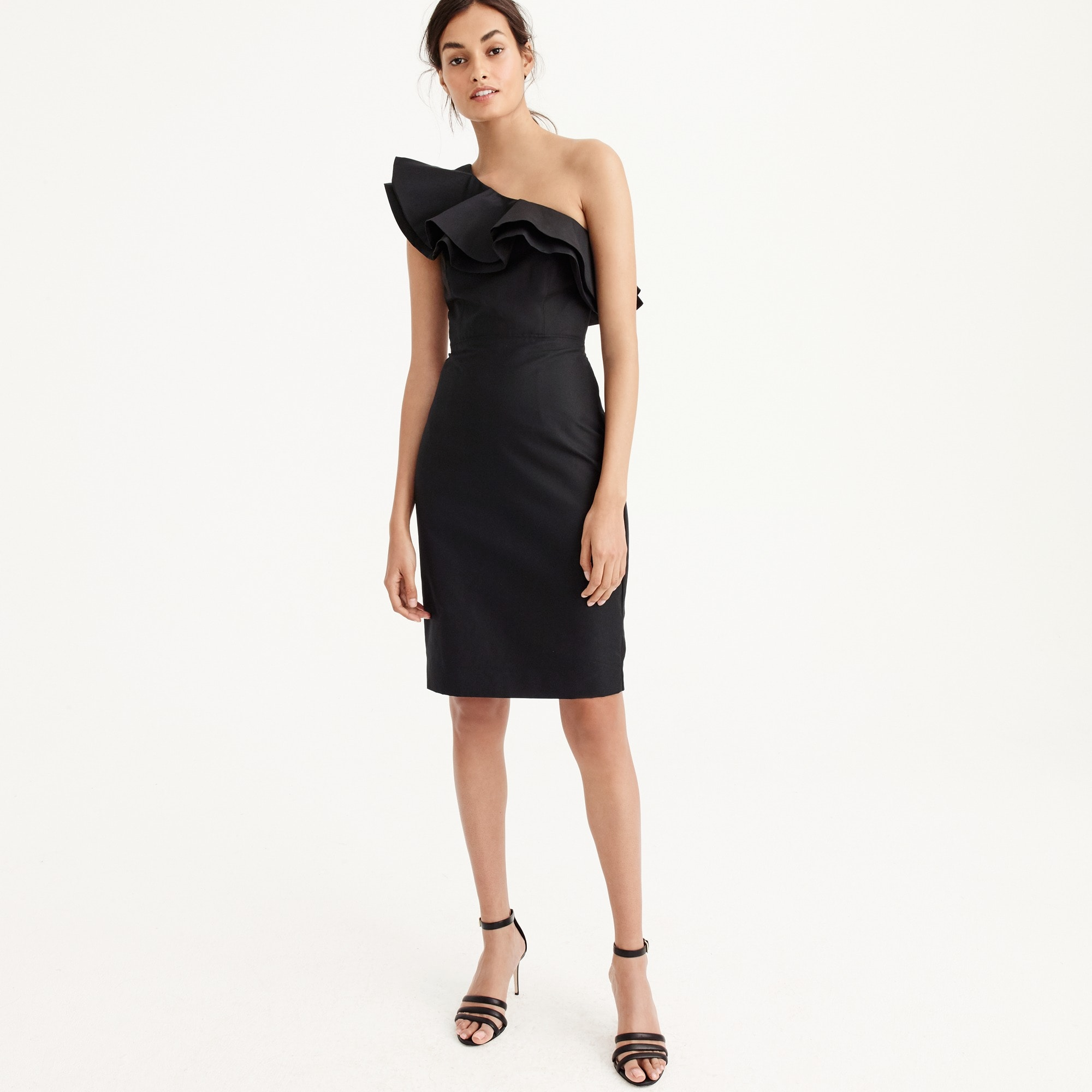 Tall one-shoulder ruffle dress in faille