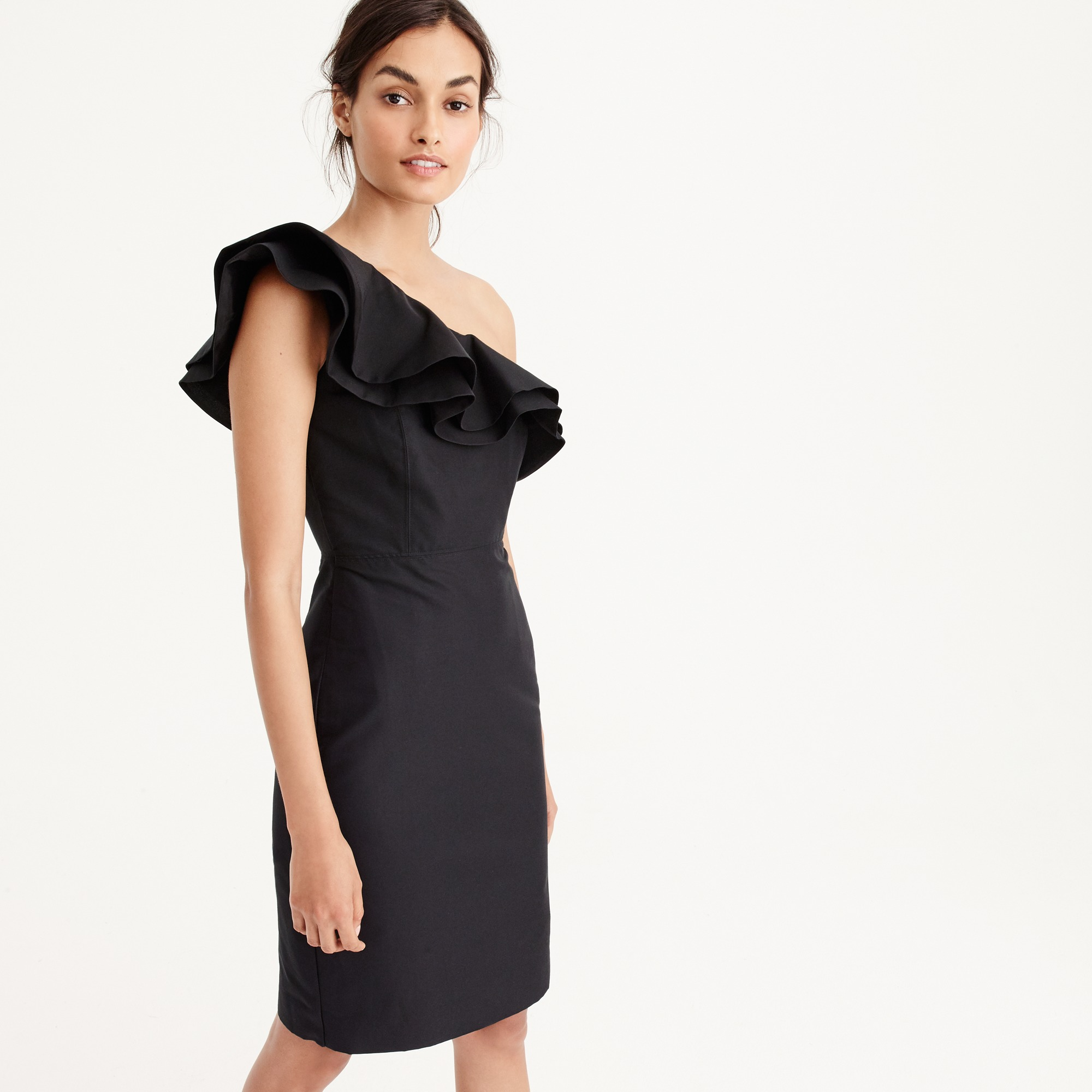 Petite one-shoulder ruffle dress in faille