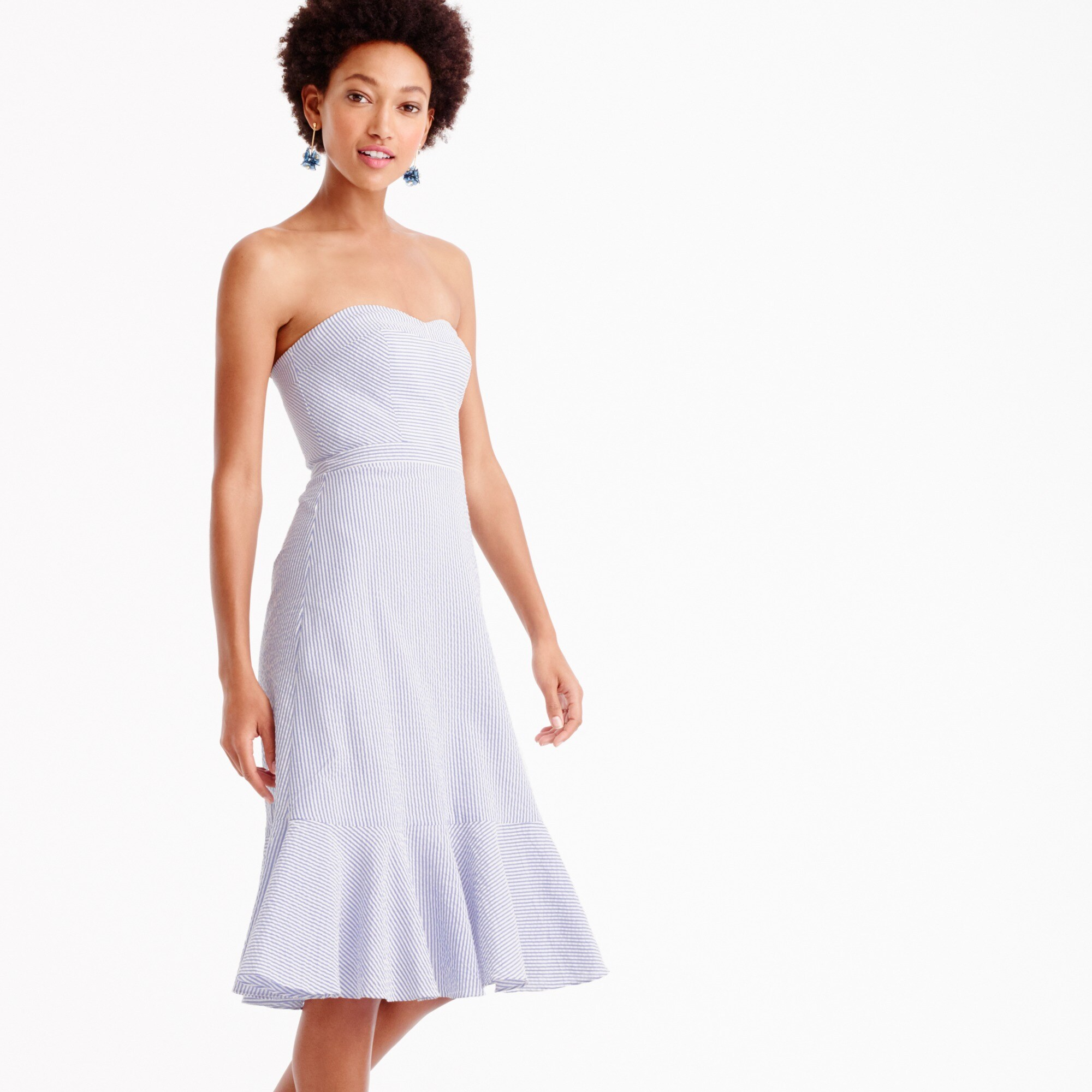 Strapless ruffle-hem dress in seersucker