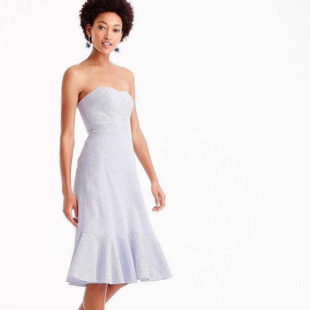Tall strapless ruffle-hem dress in seersucker