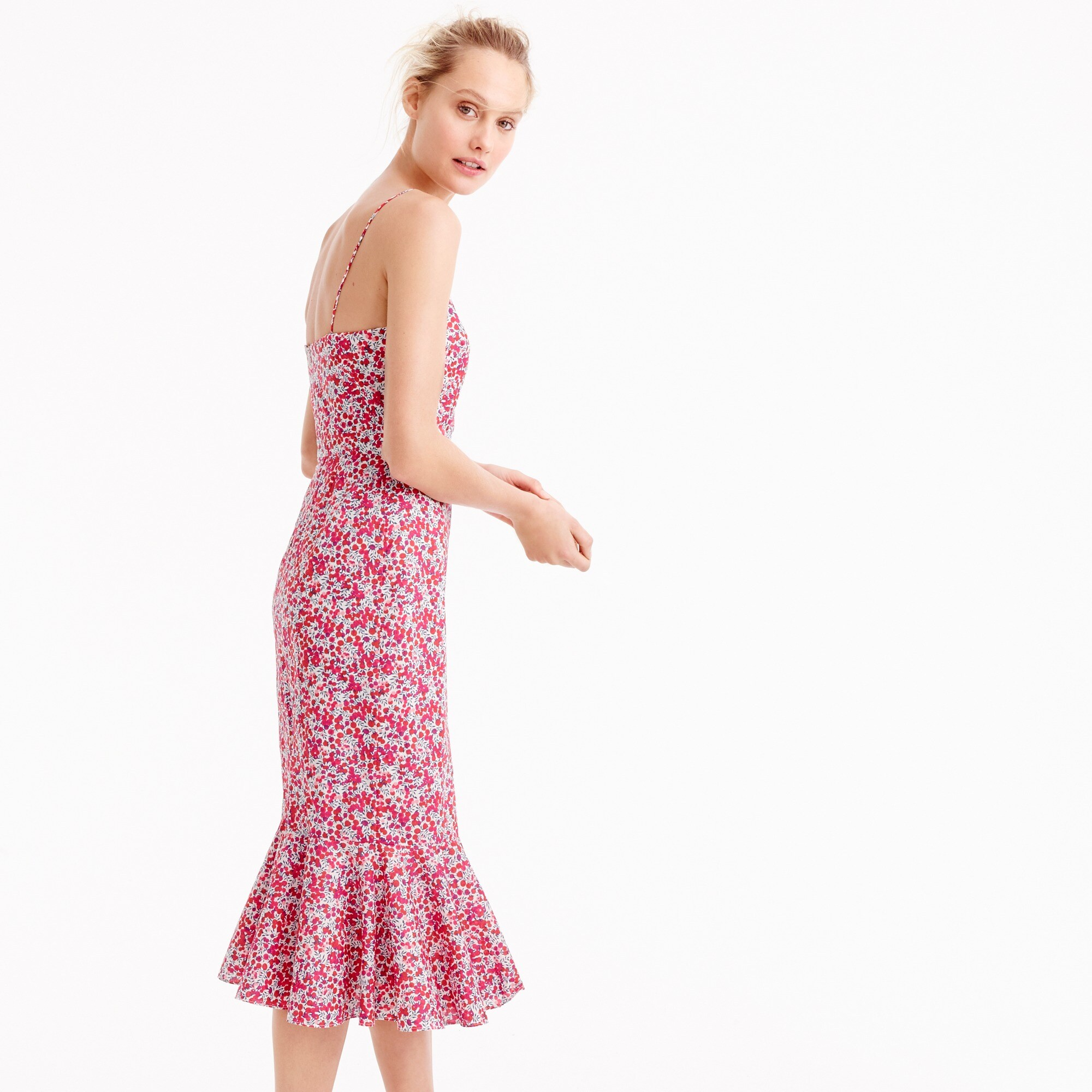 Petite ruffle-hem midi dress in Liberty Wiltshire floral