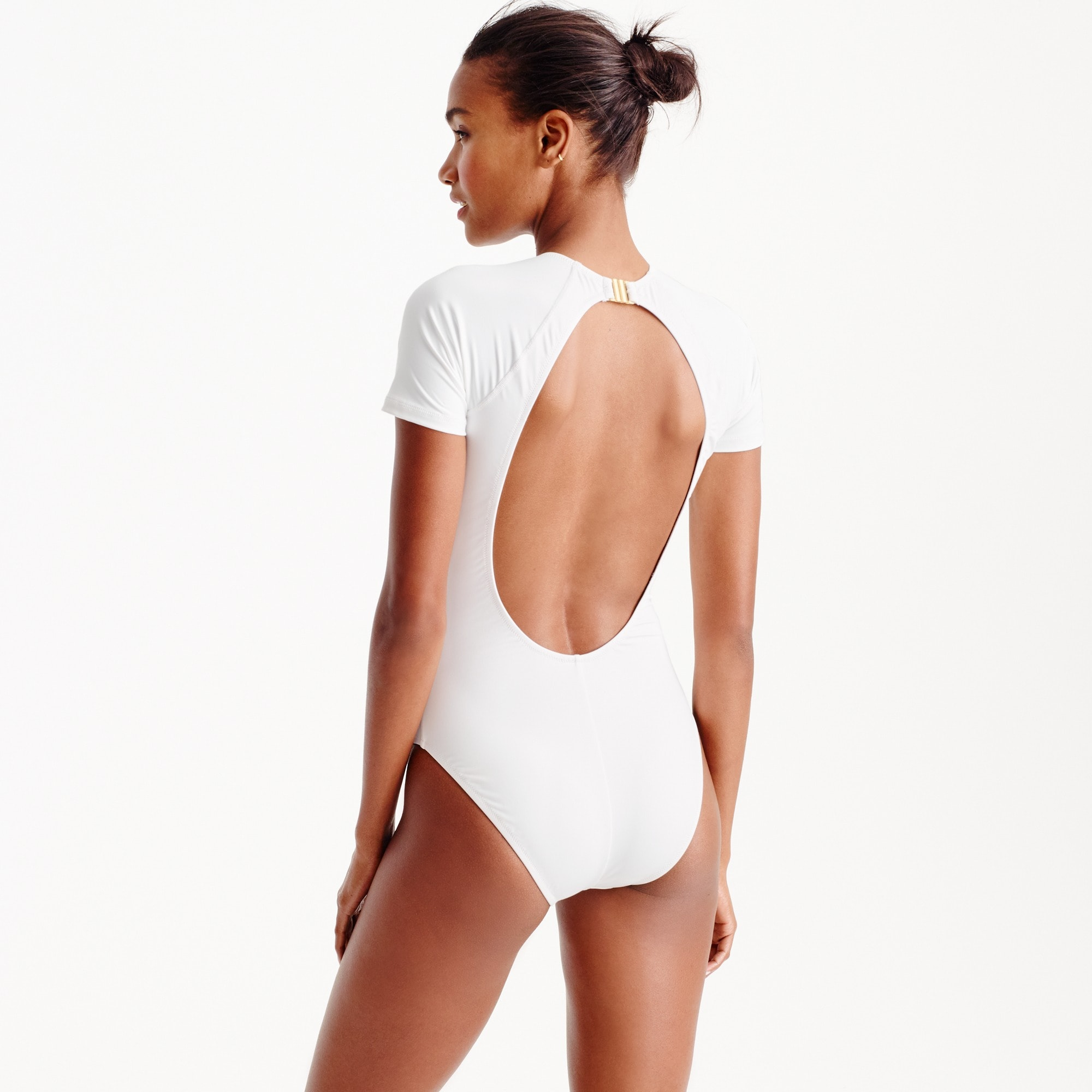 Long torso open-back short-sleeve one-piece swimsuit