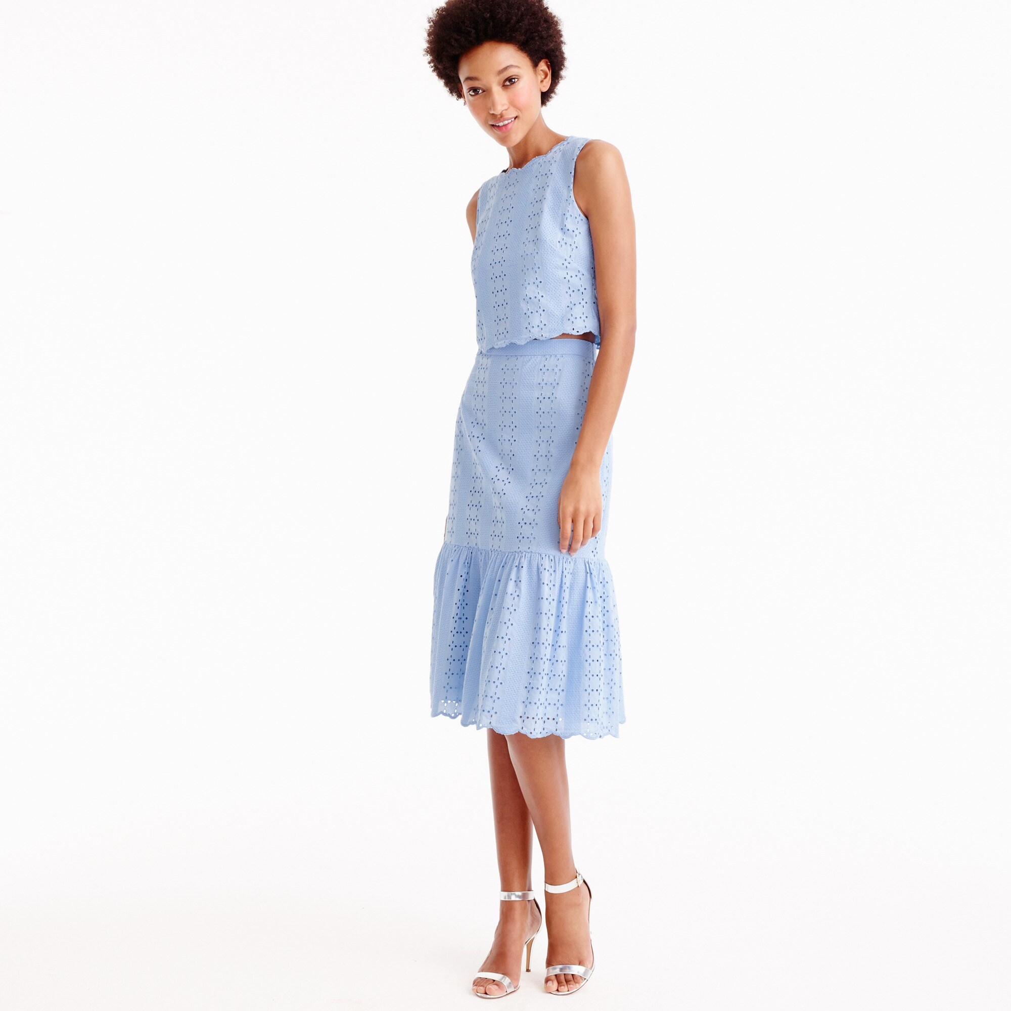 tiered scalloped skirt in eyelet : women ready-to-party collection