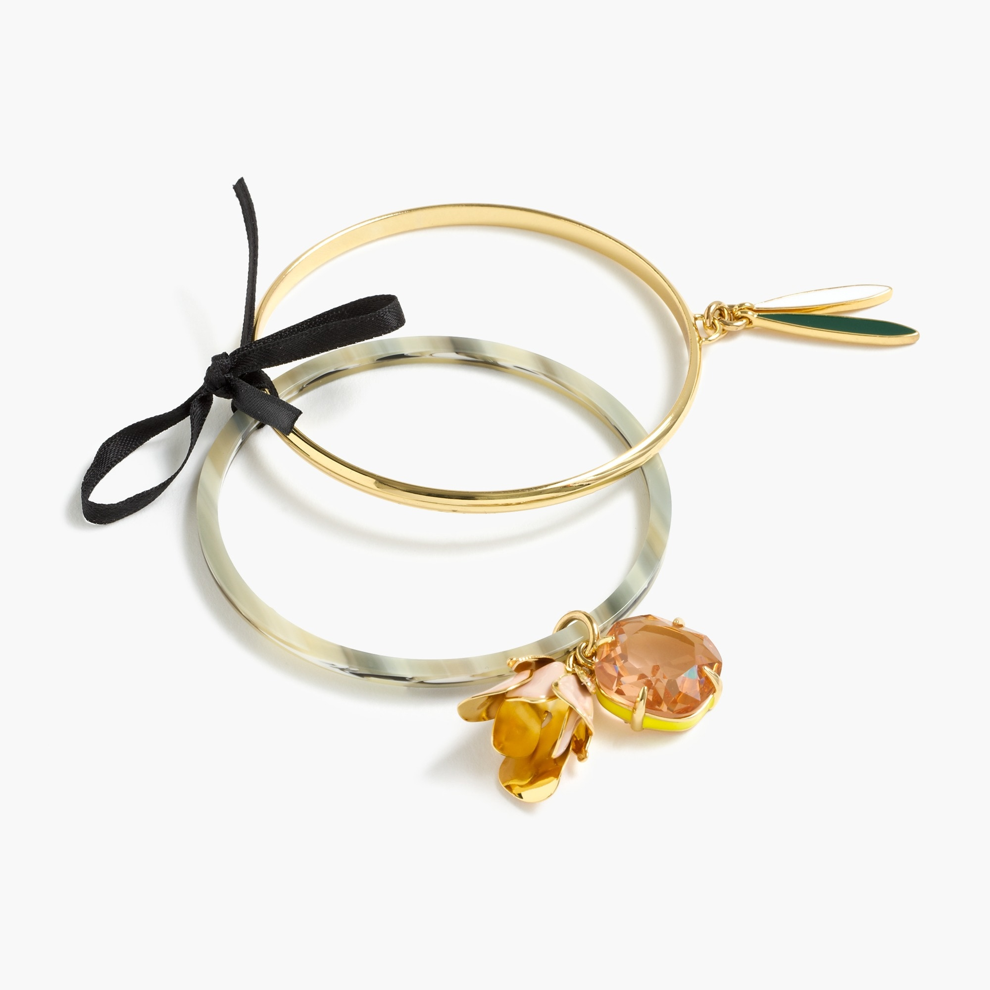 Image 1 for Flower charm bangle set