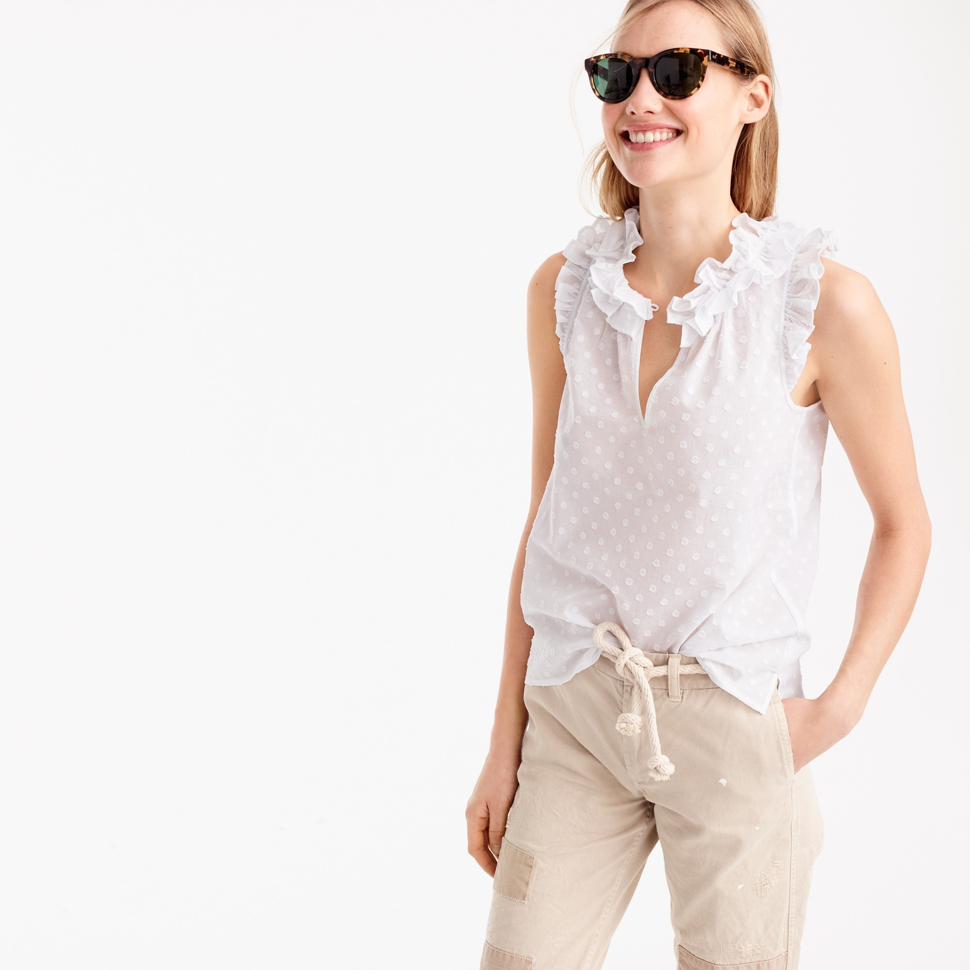 petite ruffle top in clip dot : women's shirts & blouses