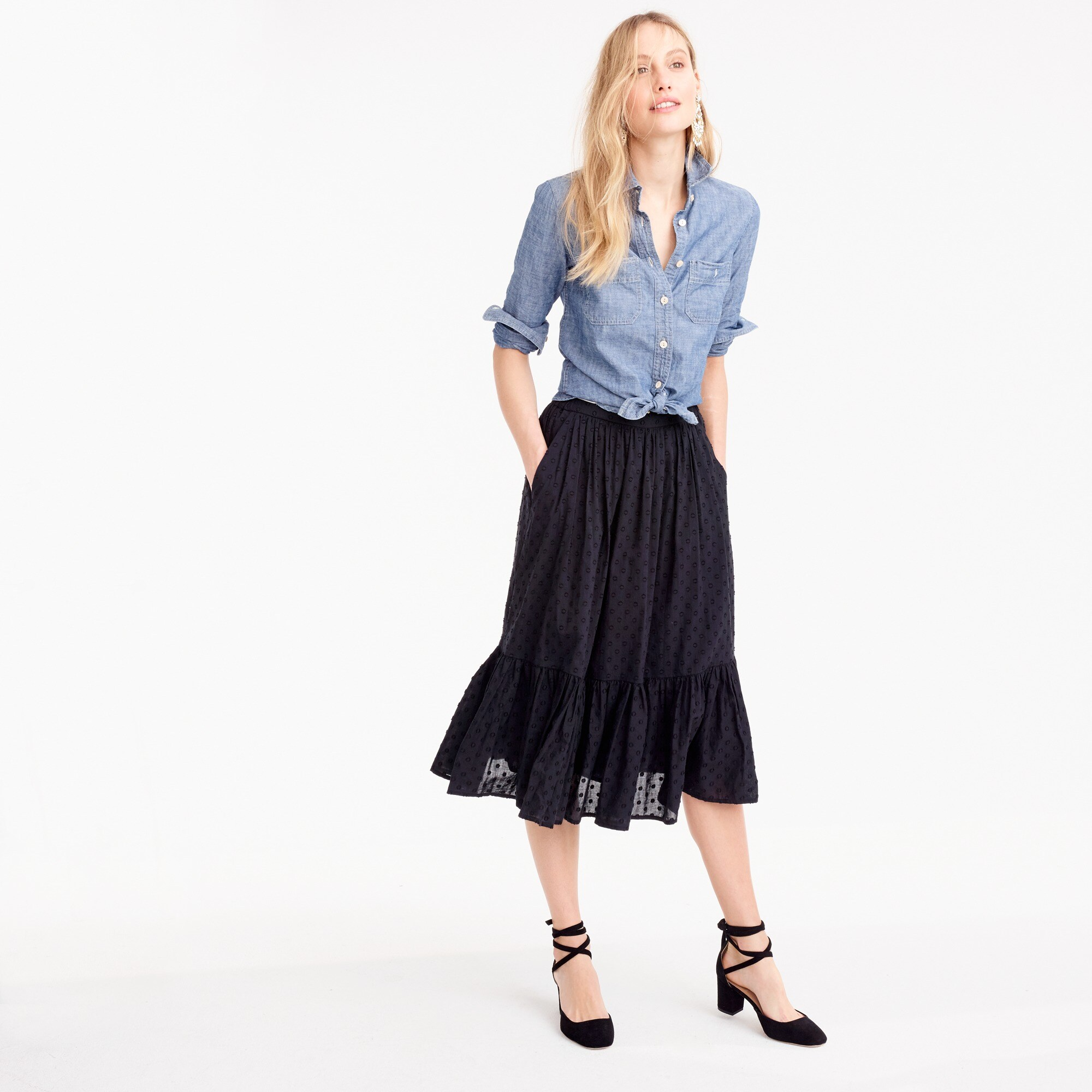 tall clip-dot tiered skirt : women's skirts