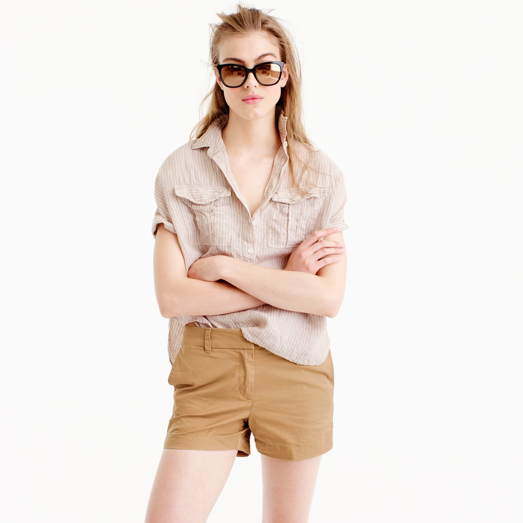 short-sleeve popover in striped irish linen : women button-ups
