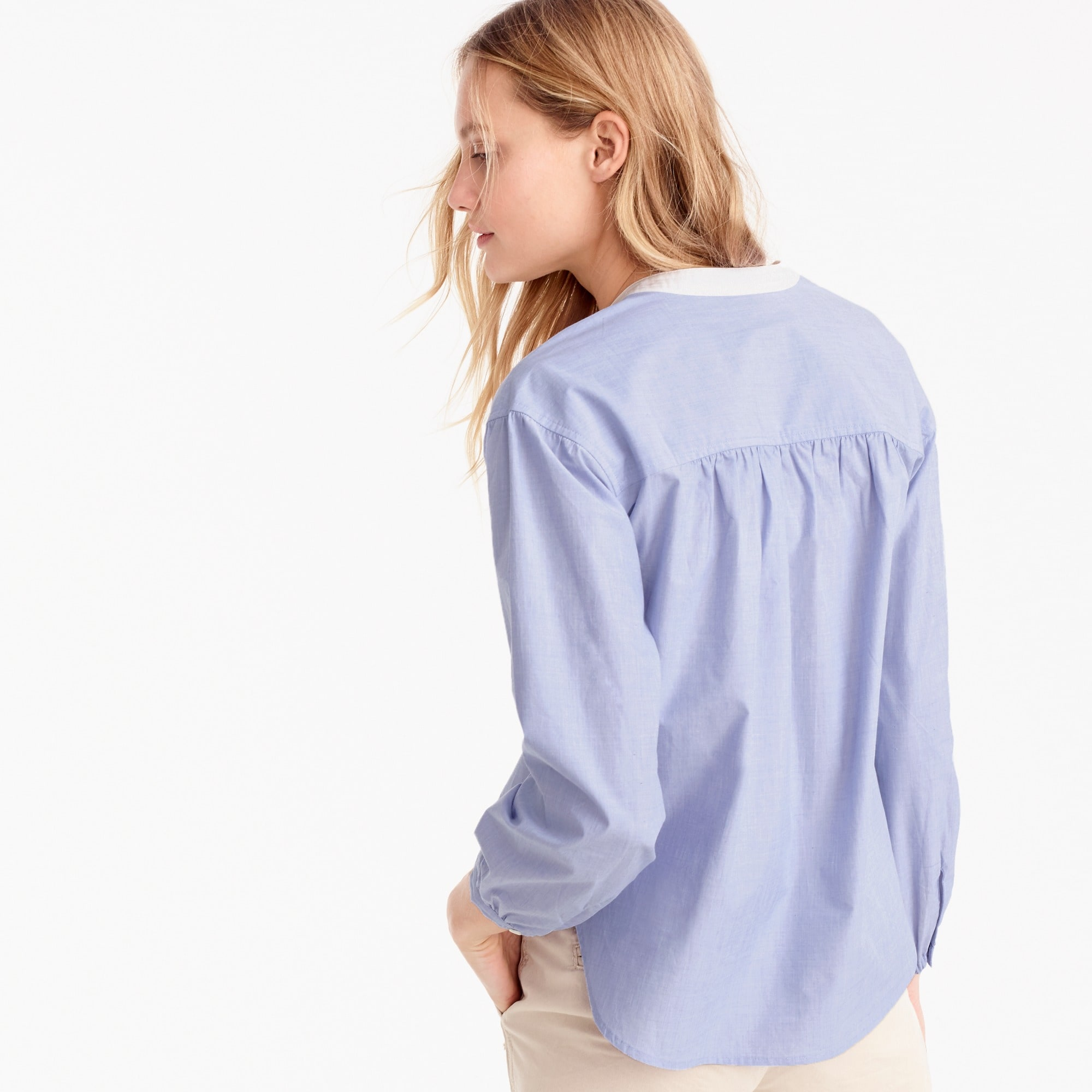 Tall gathered popover in end-on-end cotton