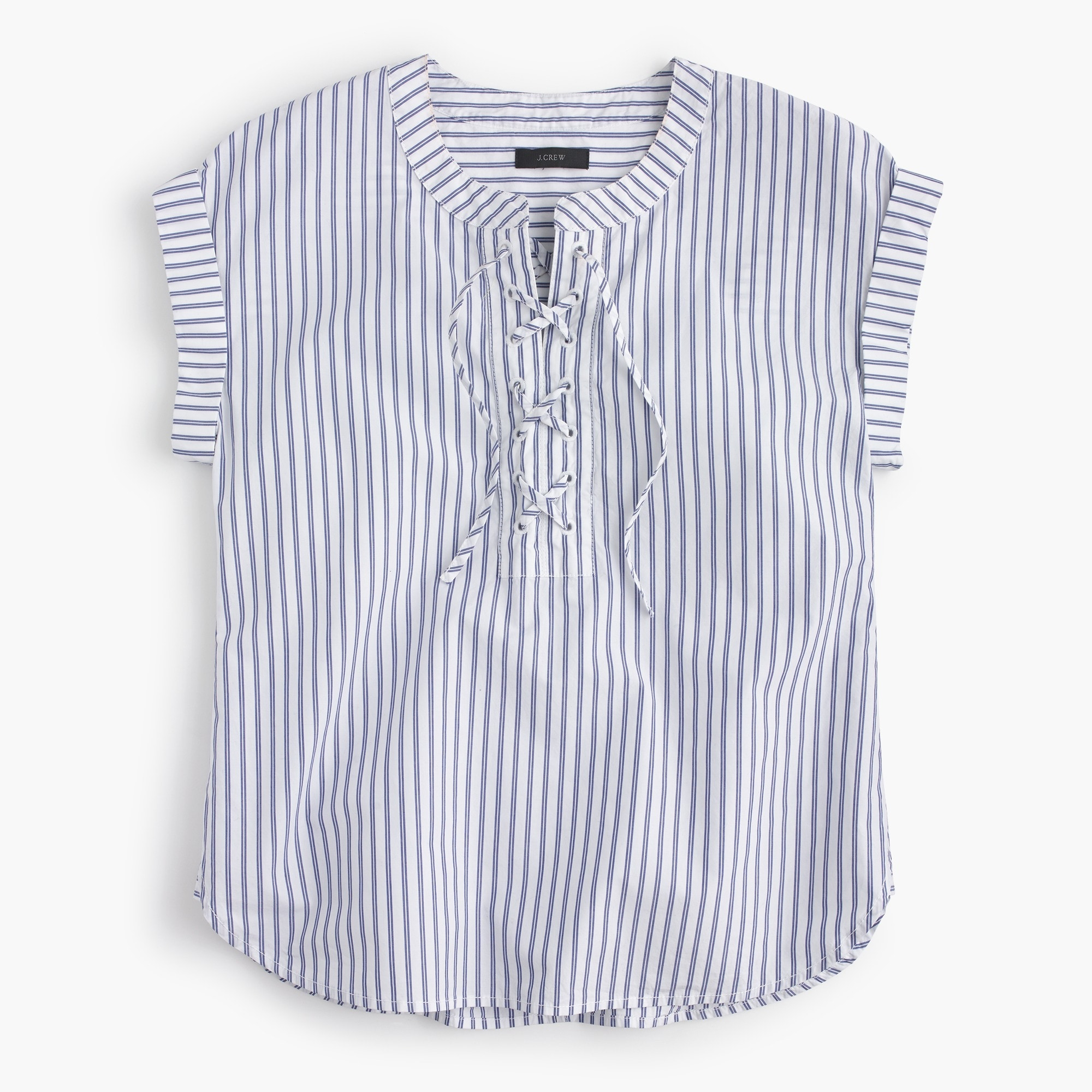 Tall lace-up popover in stripe