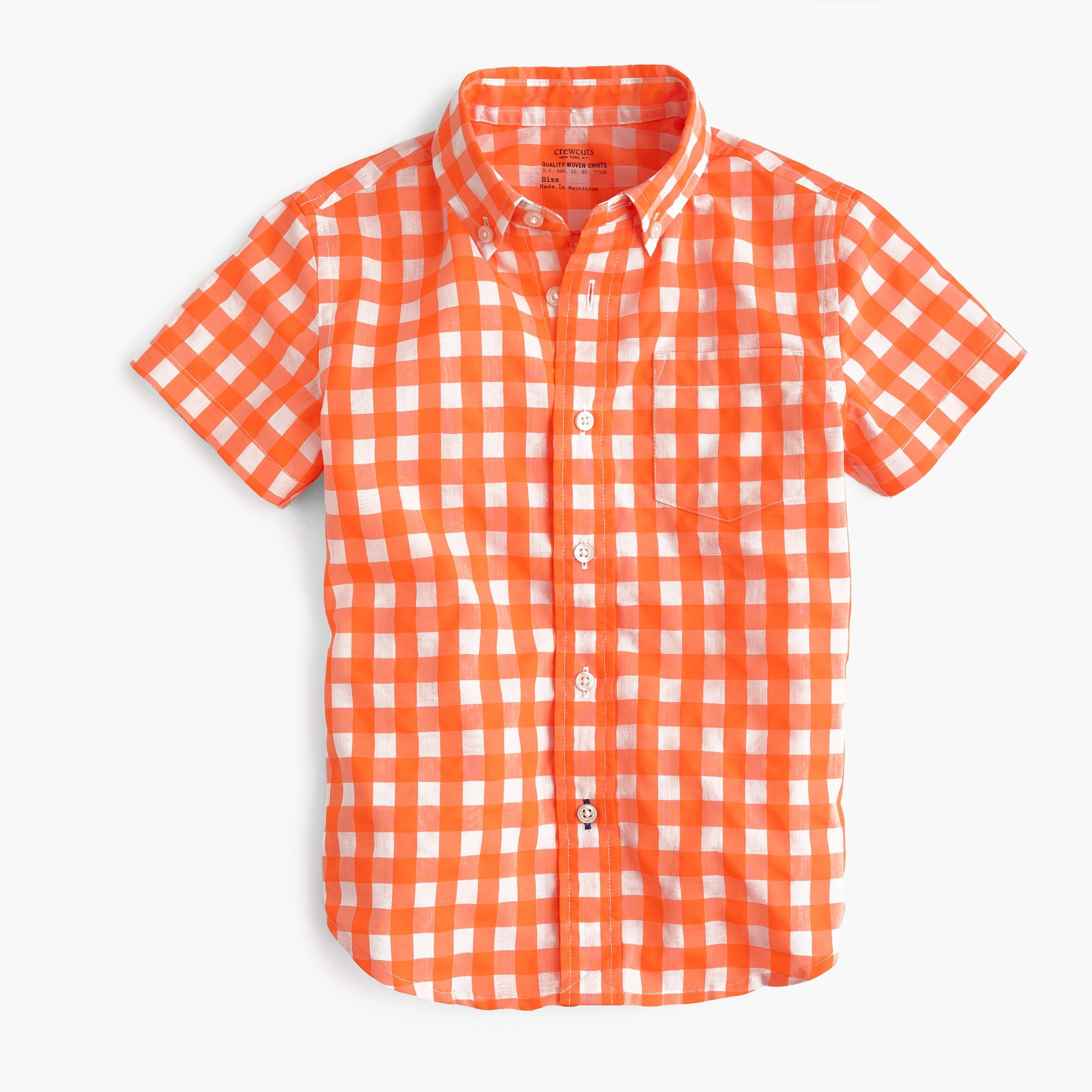 kids' short-sleeve secret wash shirt in neon gingham : boy short sleeve