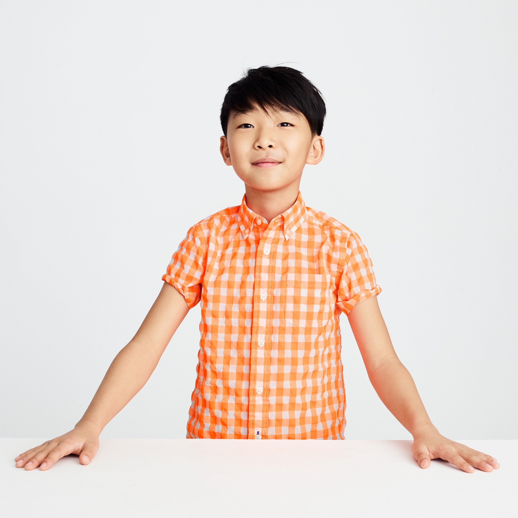 Image 1 for Kids' short-sleeve Secret Wash shirt in neon gingham