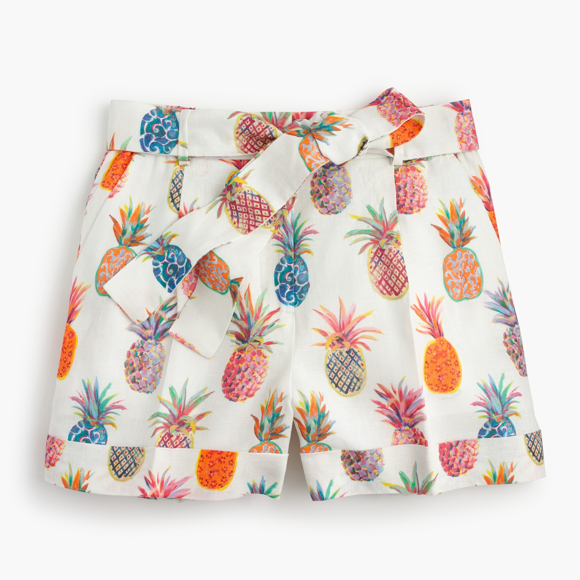 Tie-waist short in Ratti® painted pineapple