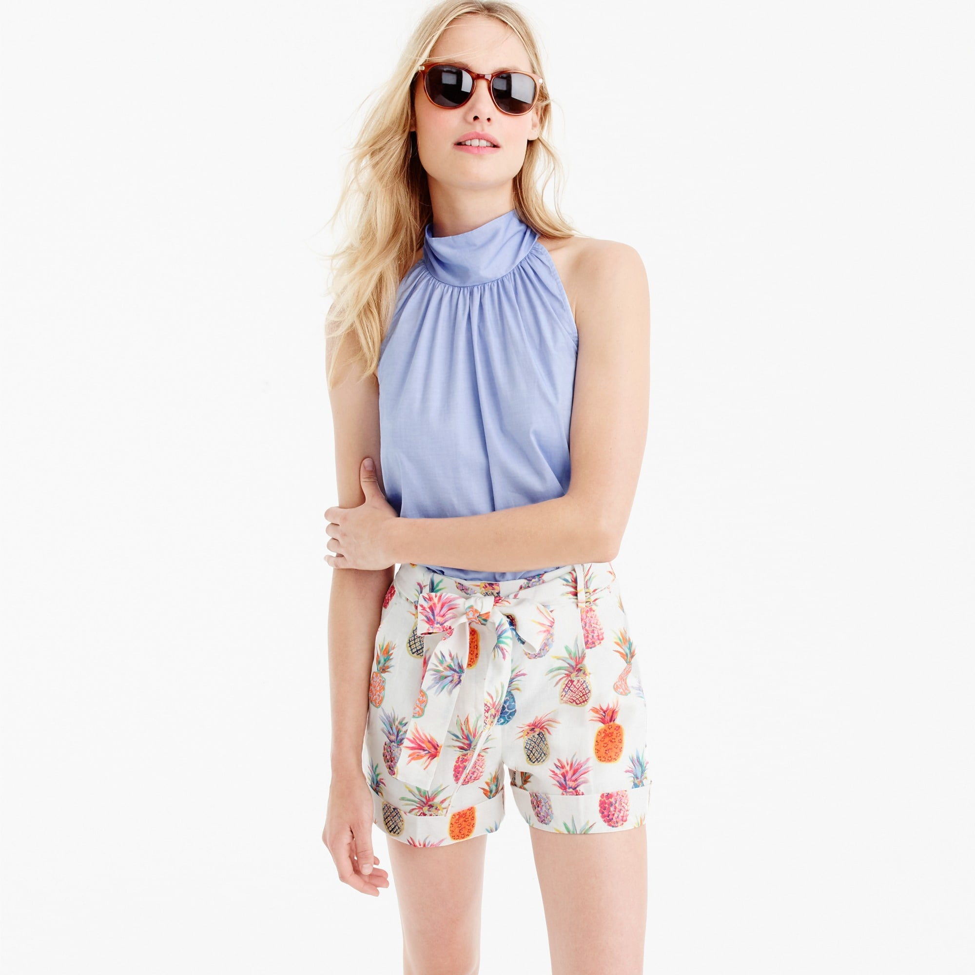tie-waist short in ratti® painted pineapple : women shorts