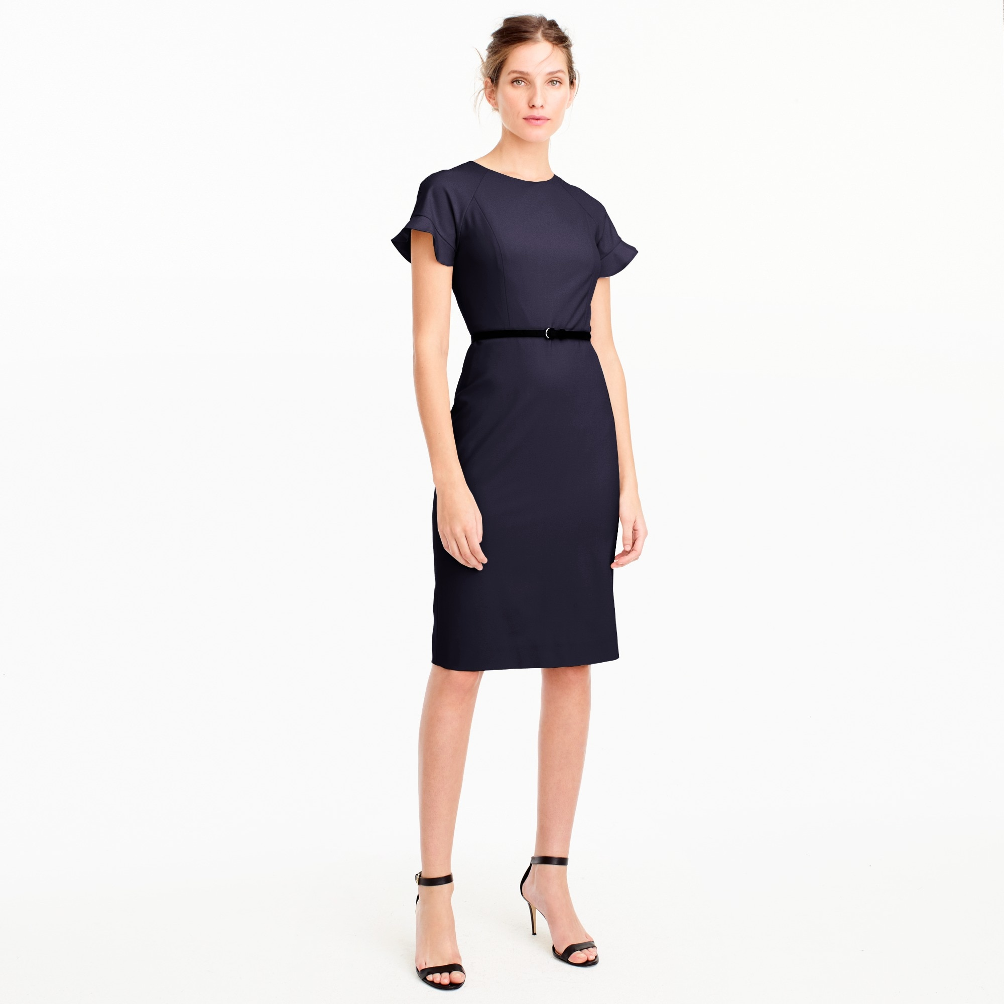 Tall ruffle-sleeve sheath dress in Italian stretch wool