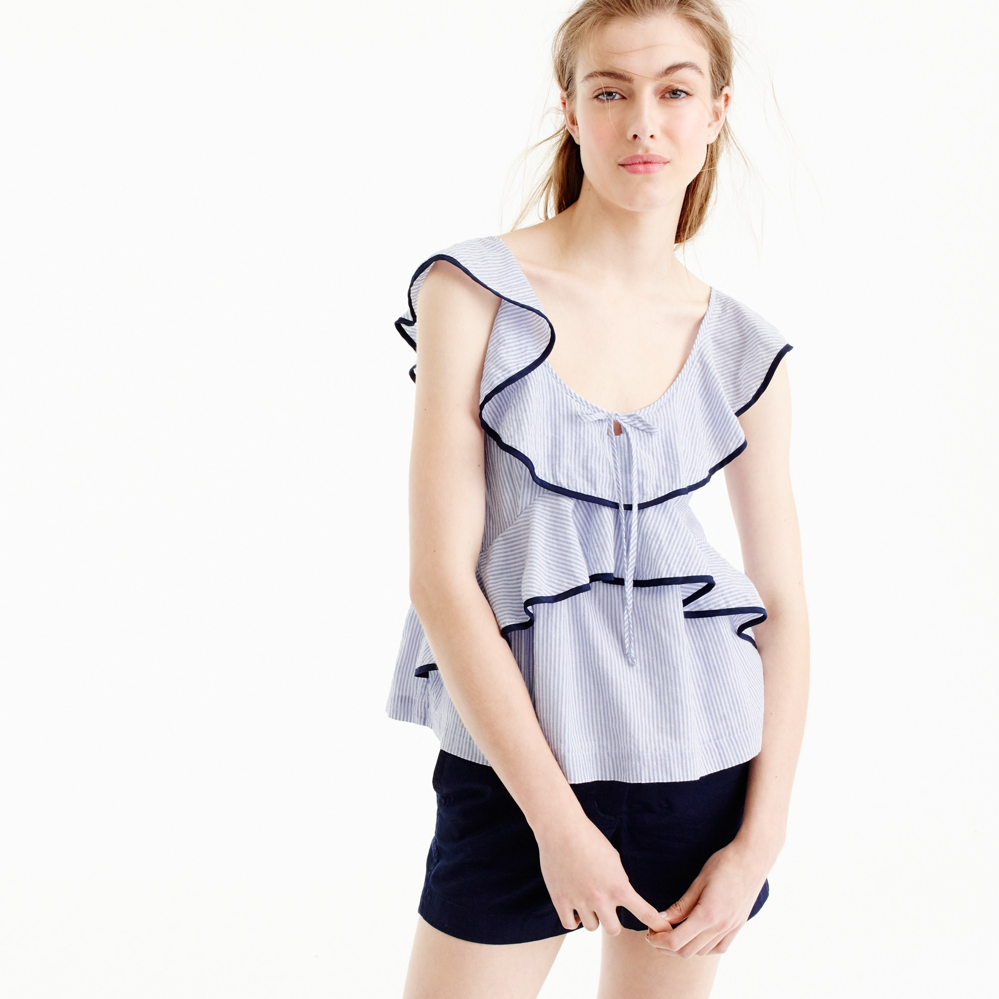 Tall tipped ruffle top in stripe