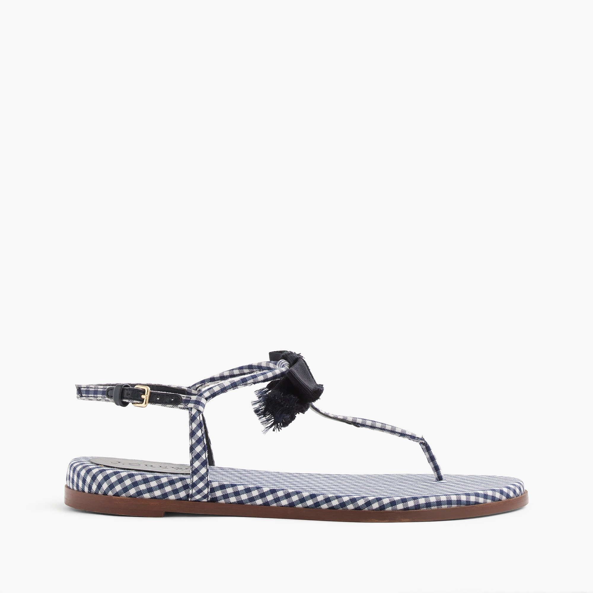 gingham t-strap bow sandals : women sandals