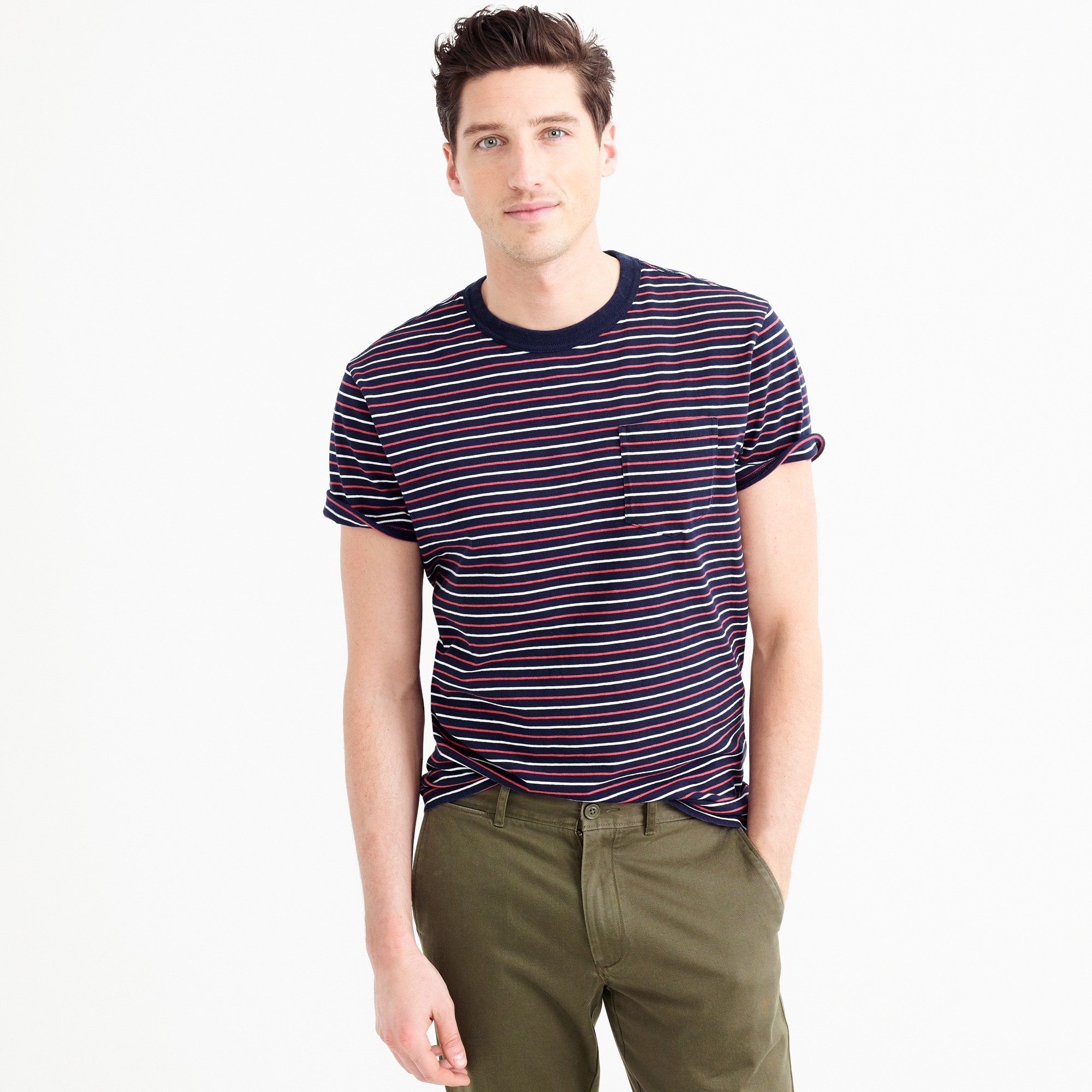 tall cotton t-shirt in multistripe : men t-shirts & polos
