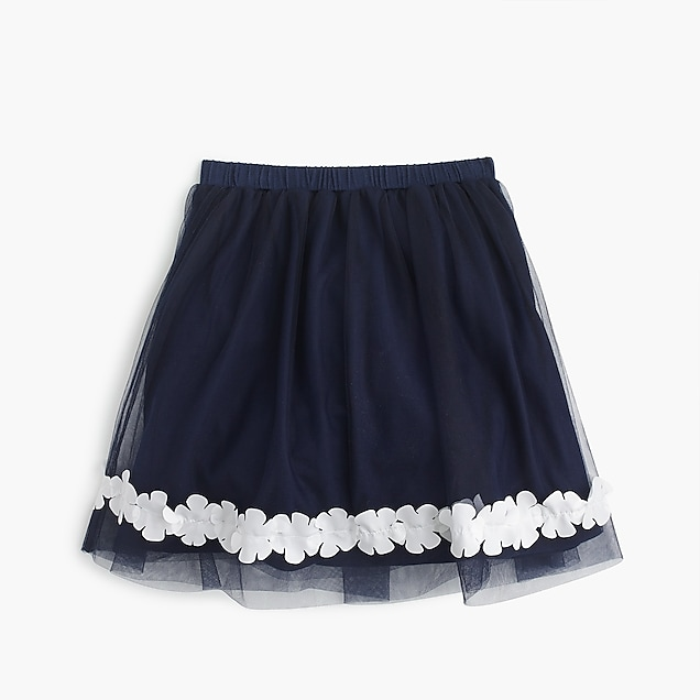 Girls' floral trim tulle skirt