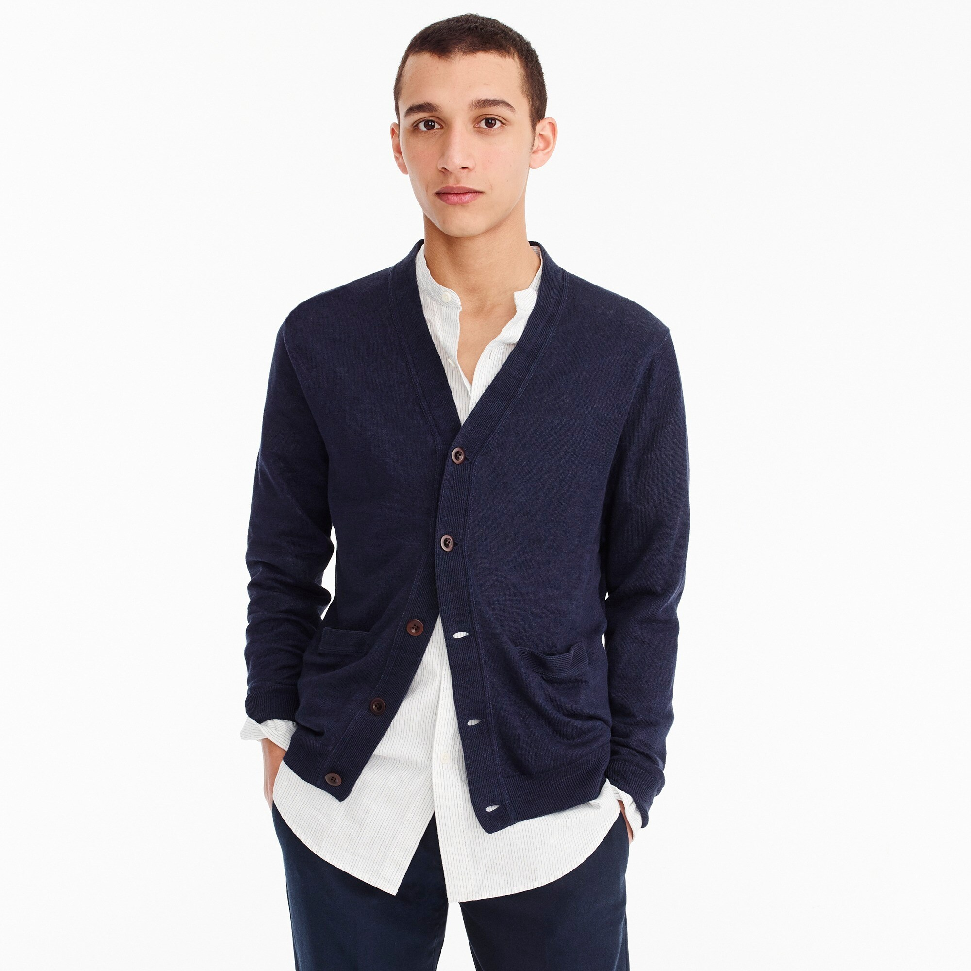 men's french linen cardigan sweater - men's sweaters