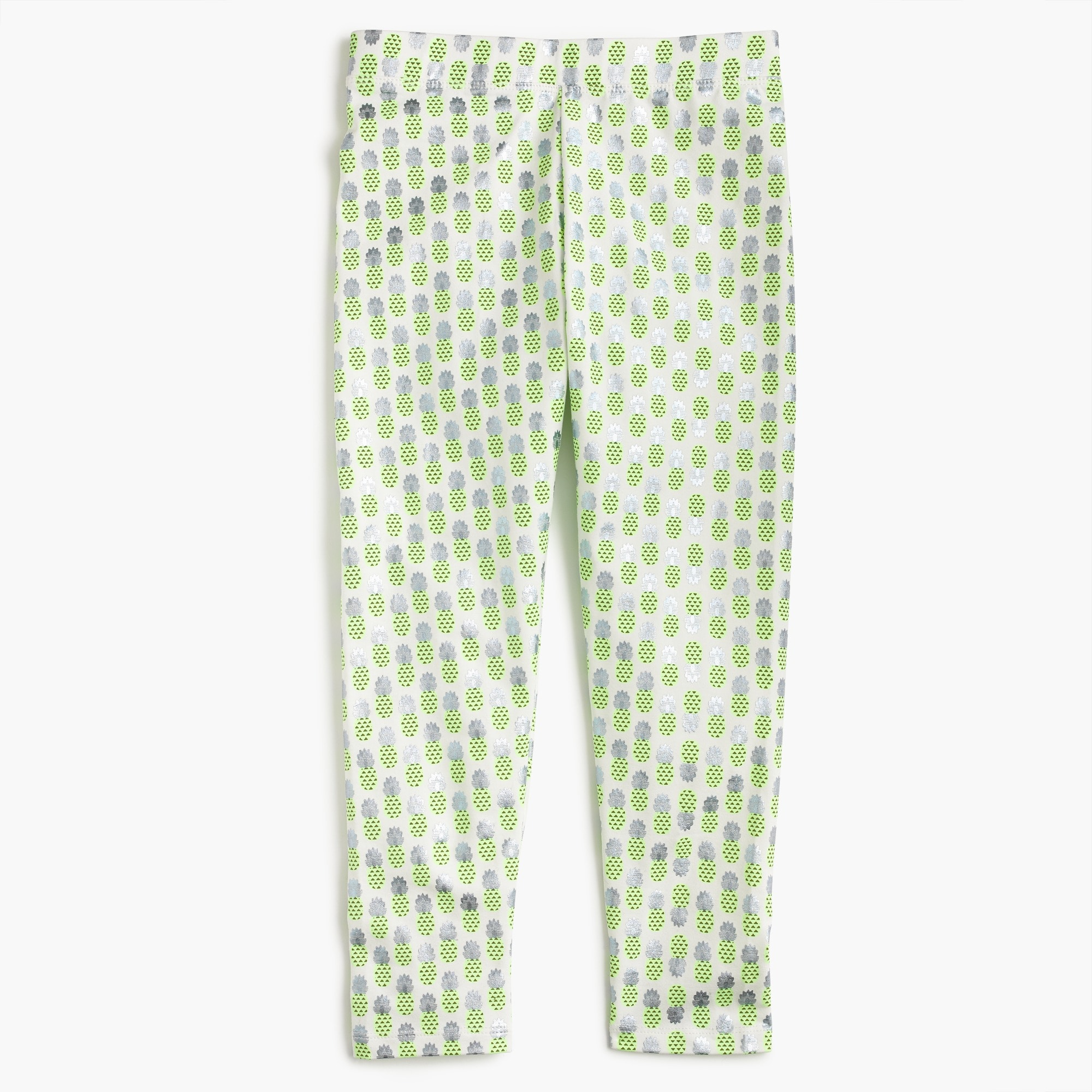 girls' cropped everyday leggings in foil pineapple print : girl cropped