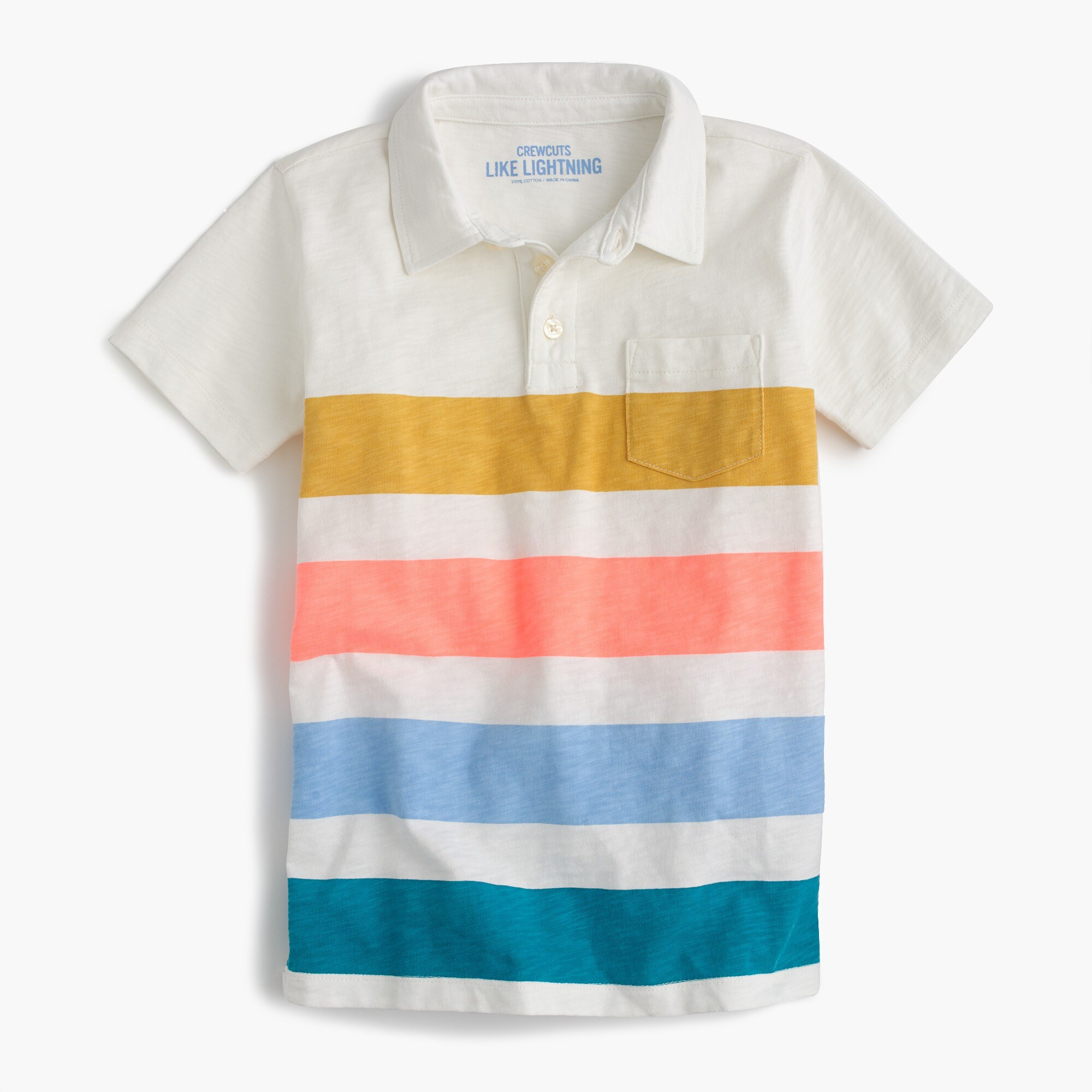 Boys' short-sleeve polo shirt in quad stripe