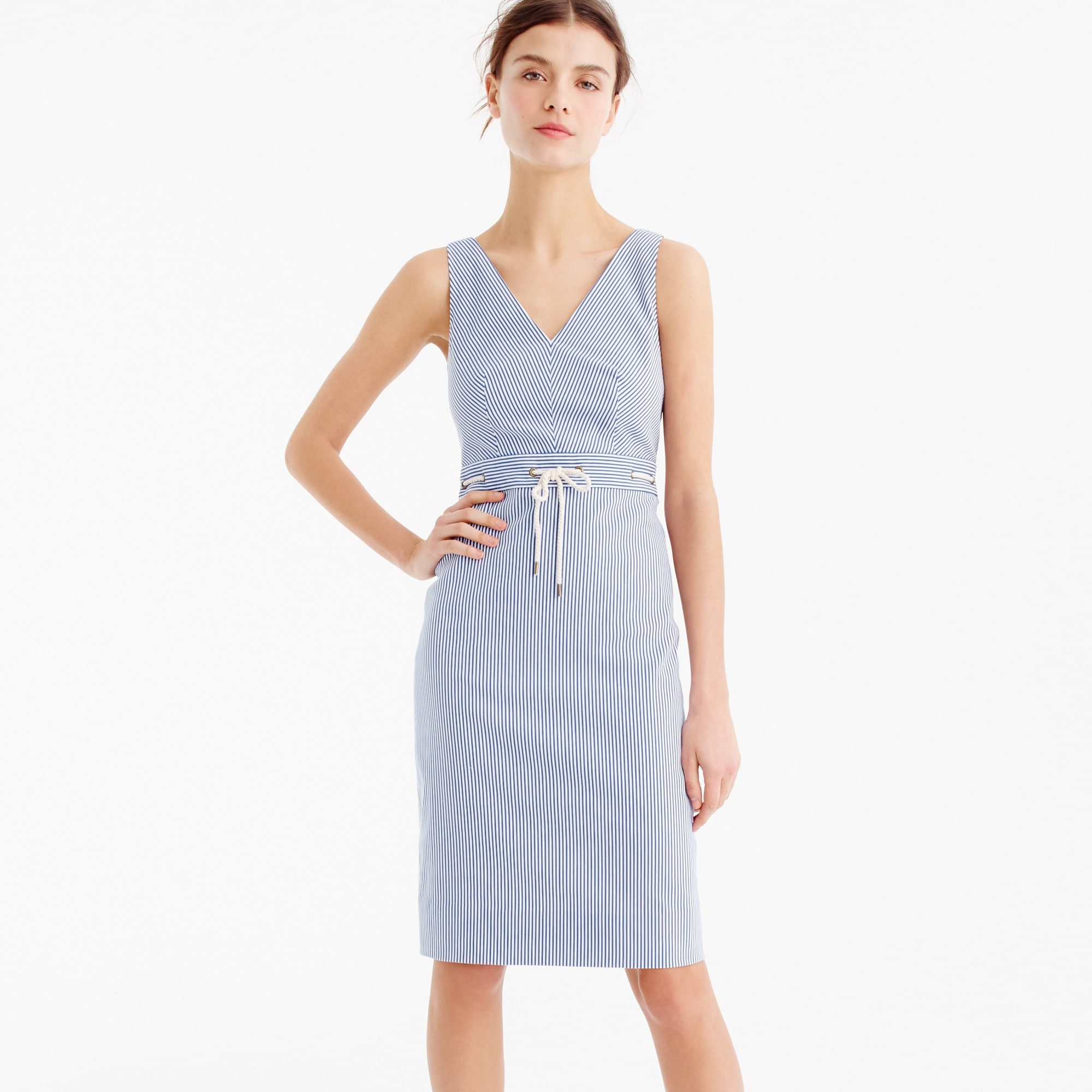petite double v-neck dress in stretch seersucker : women wear-to-work shop