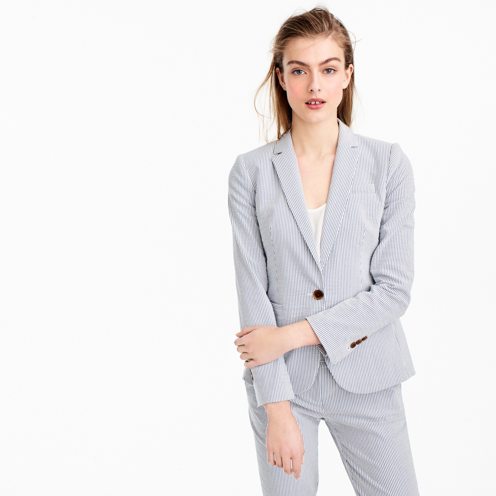 Petite Campbell blazer in stretch seersucker