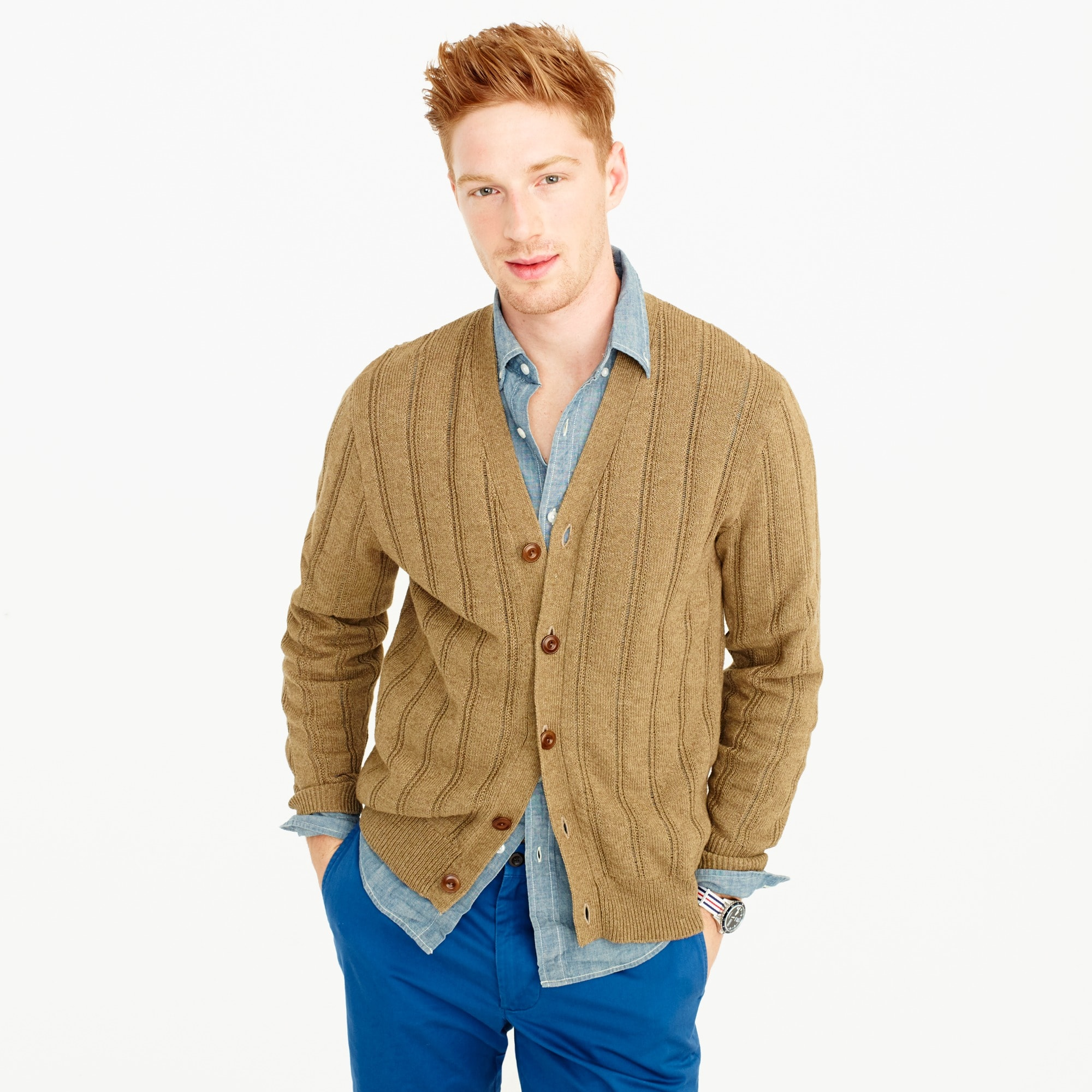 cotton-linen v-neck cardigan sweater : men wallace & barnes