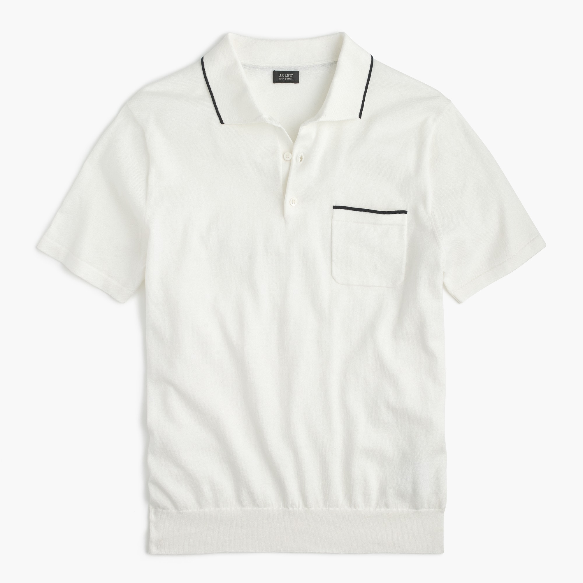 Pima cotton short-sleeve sweater-polo in white