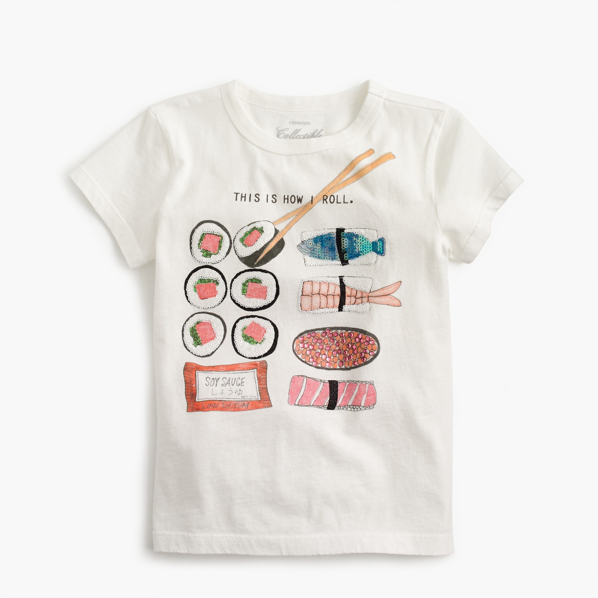 "Girls' ""This is How I Roll"" sushi T-shirt"