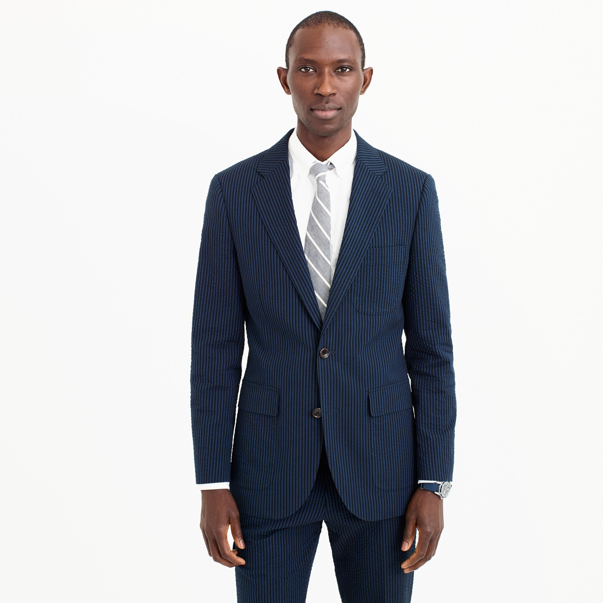 Ludlow wide-lapel suit jacket in black Japanese seersucker