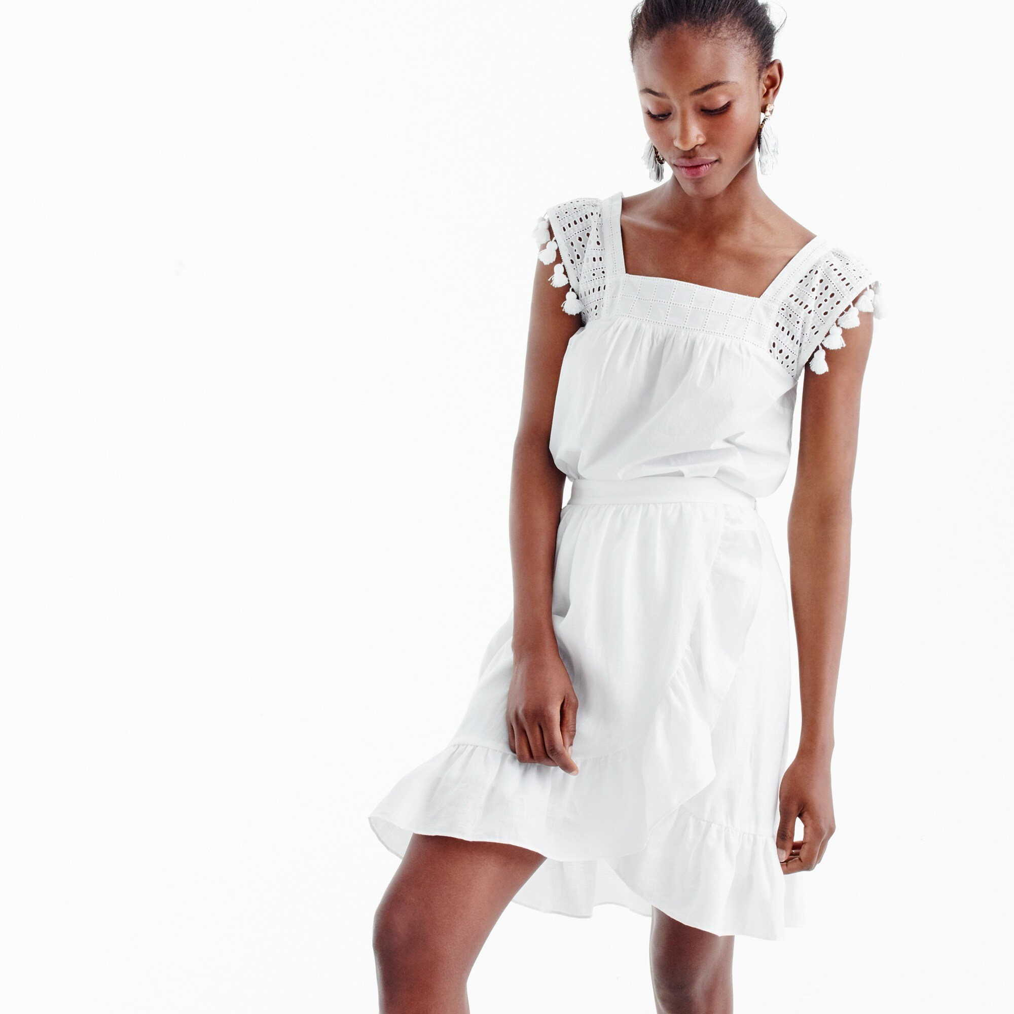 tall linen ruffle skirt : women mini