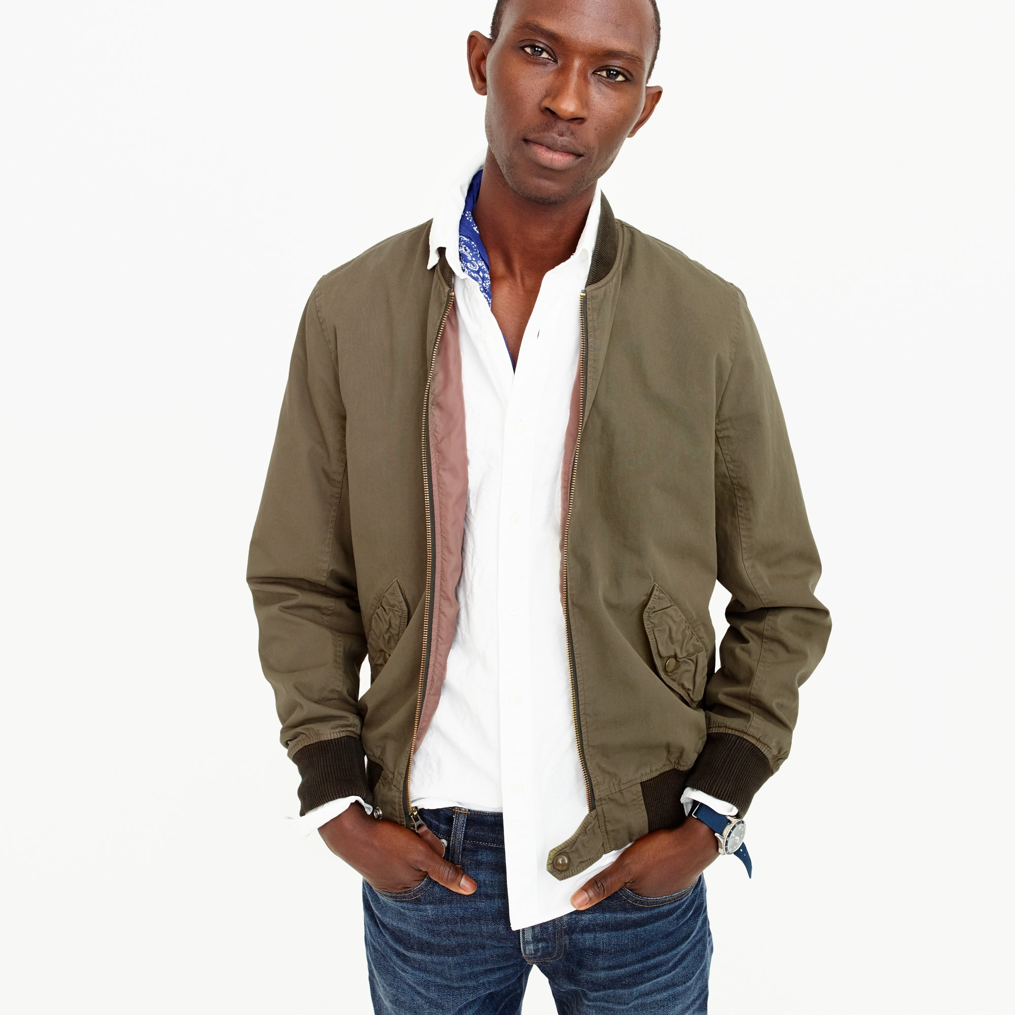 men's tall wallace & barnes garment-dyed cotton ma-1 bomber jacket