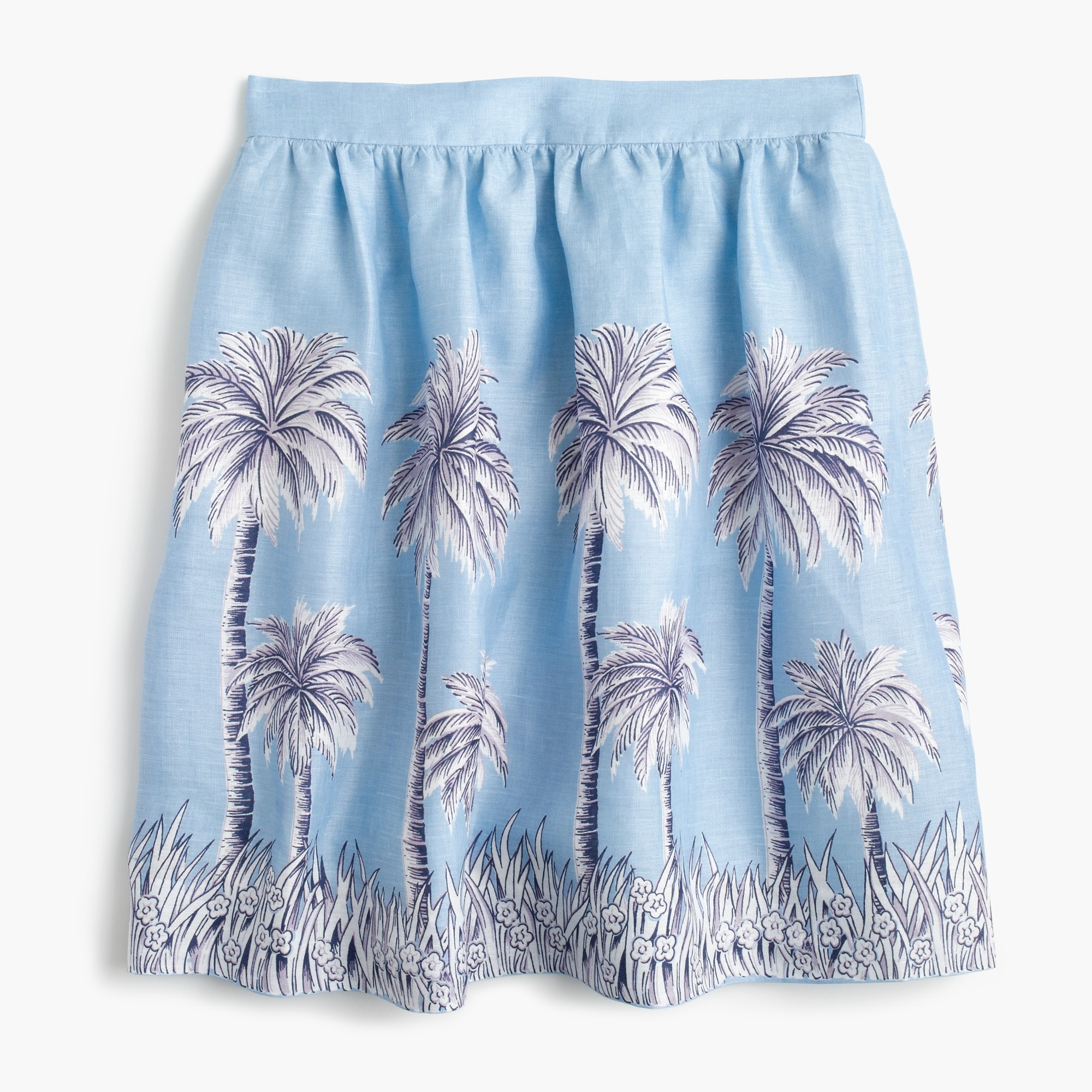 Petite linen skirt in palm tree print