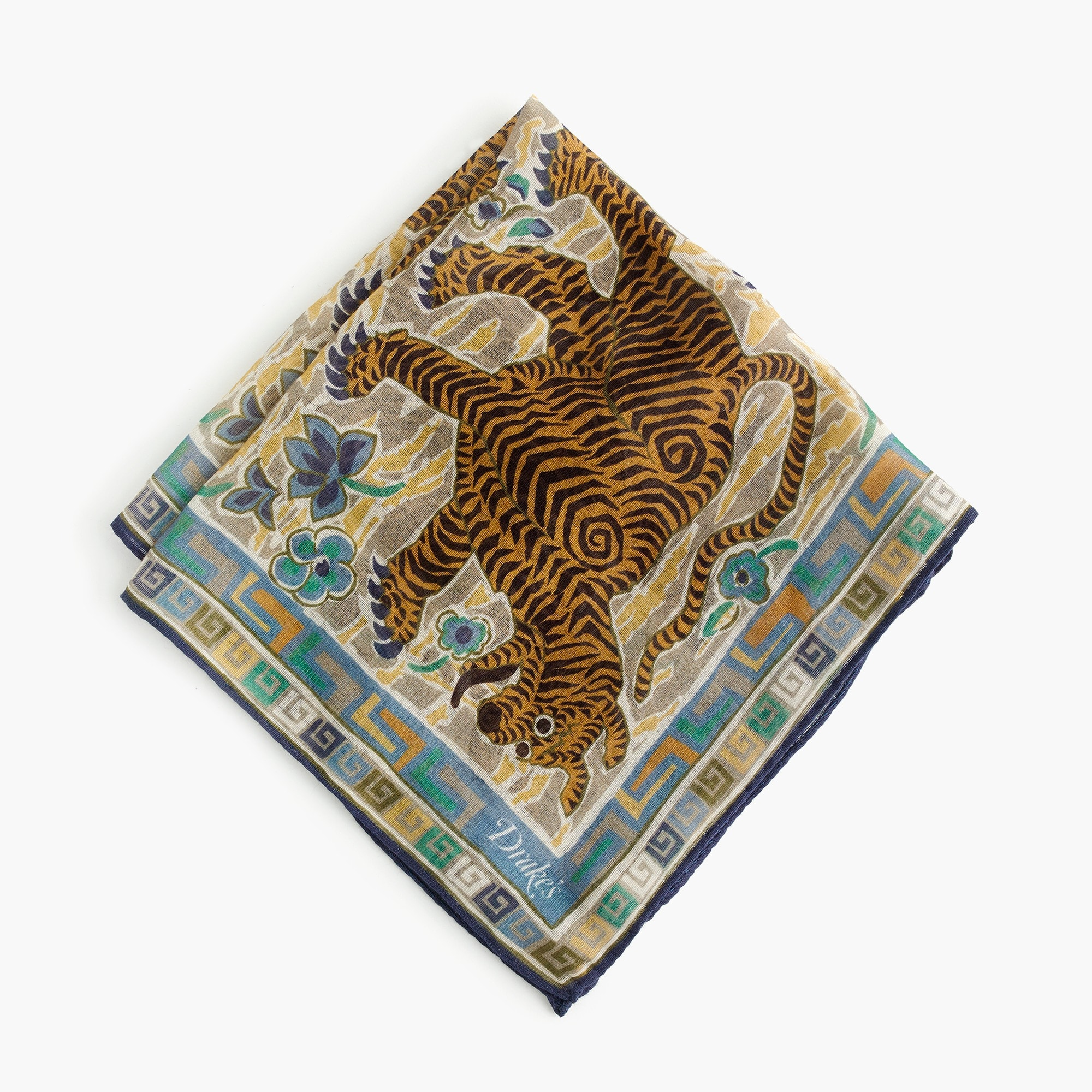 Drake's® cotton pocket square in tiger print